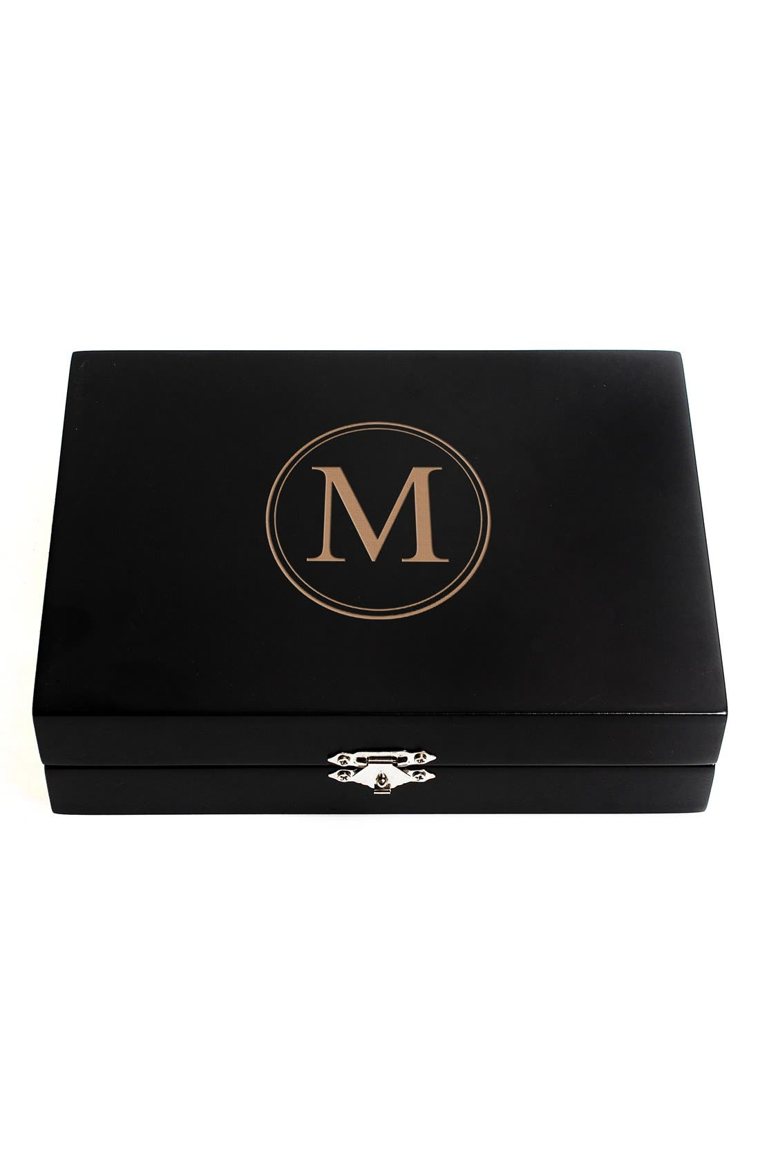 Monogram Wooden Jewelry Box,                             Main thumbnail 15, color,
