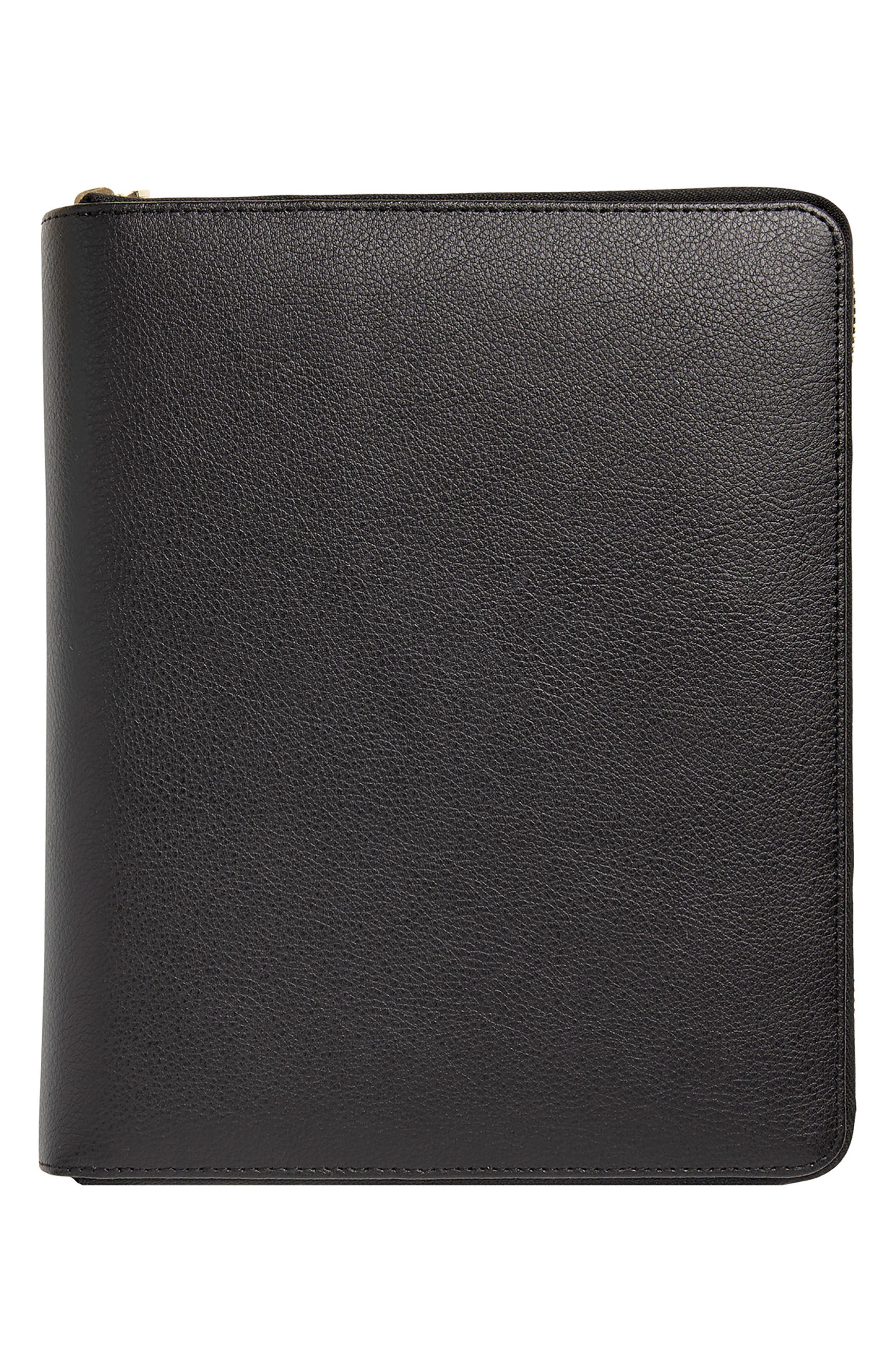 Zip-Around Leather 18-Month Perpetual Planner,                         Main,                         color, JET BLACK LARGE