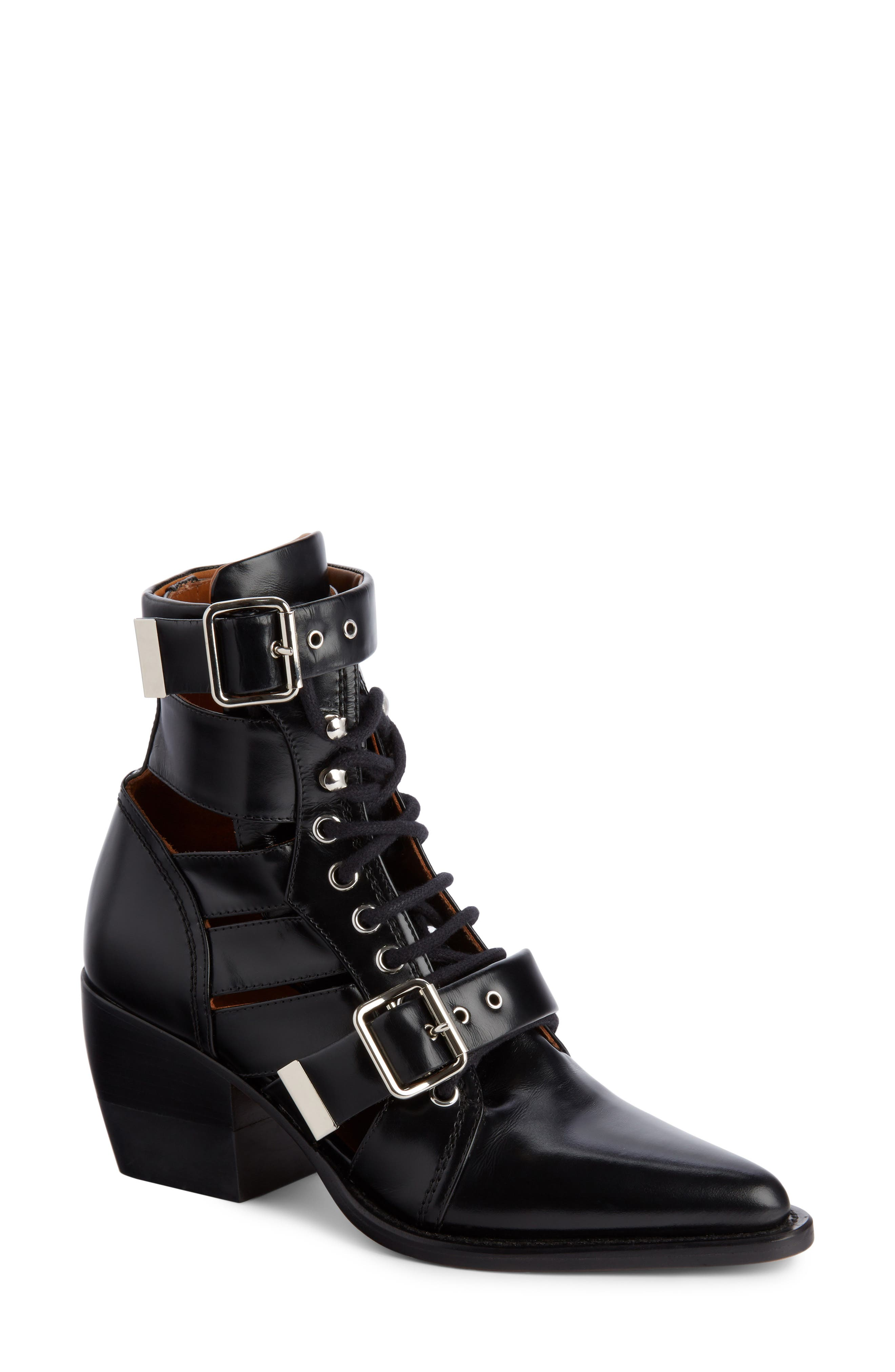 Rylee Caged Pointy Toe Boot,                         Main,                         color, BLACK