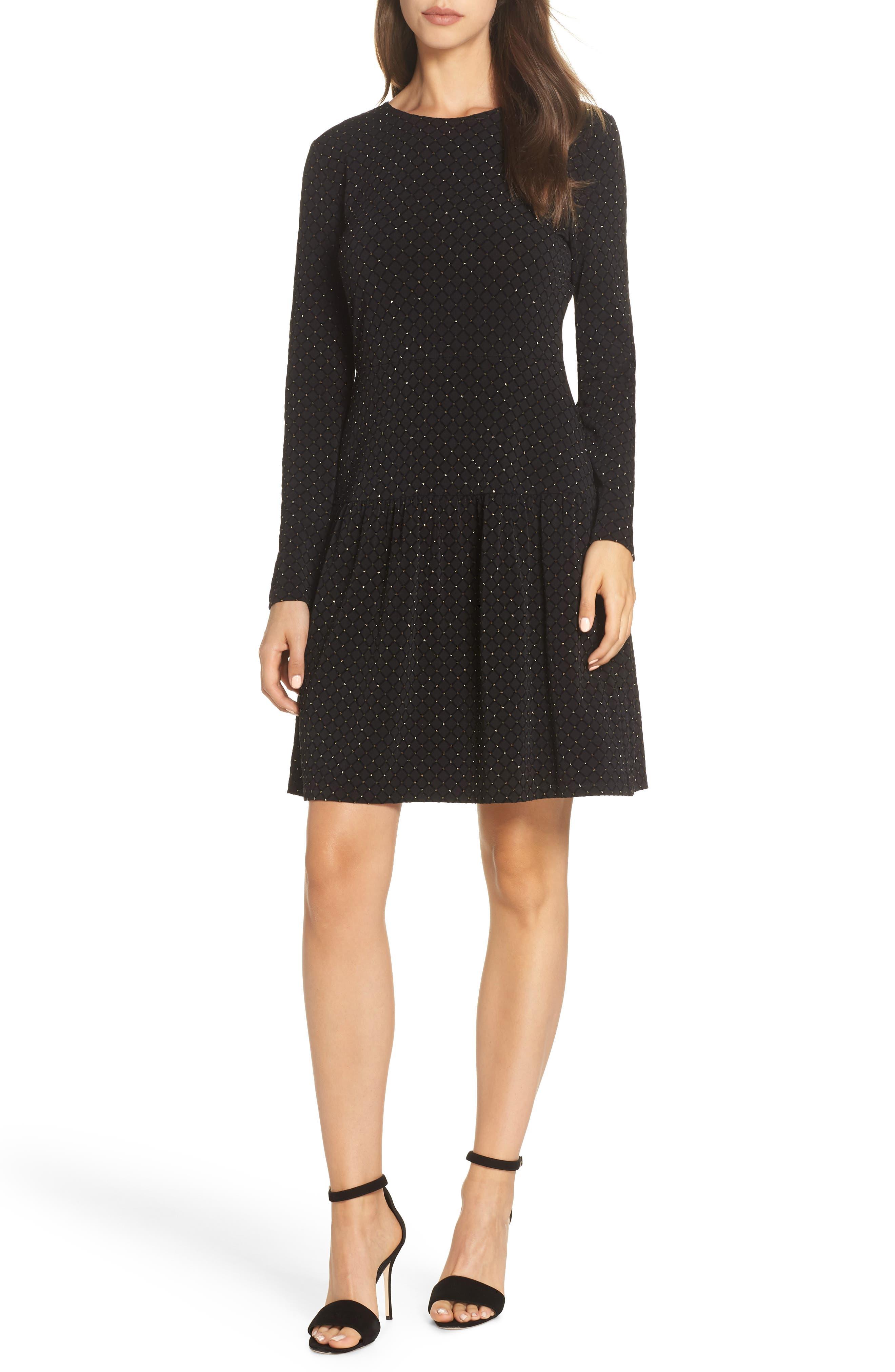 Michael Michael Kors Long Sleeve Pleated Skirt Dress