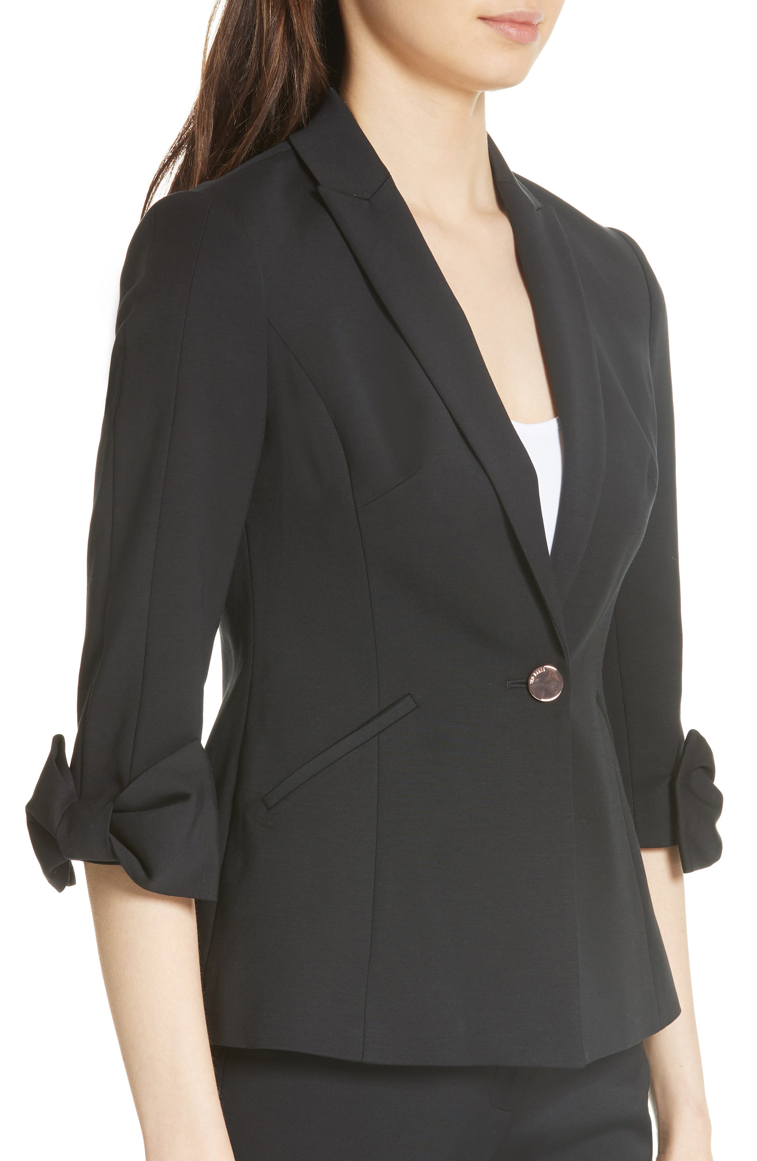 Toply Bow Cuff Jacket,                             Alternate thumbnail 4, color,                             BLACK