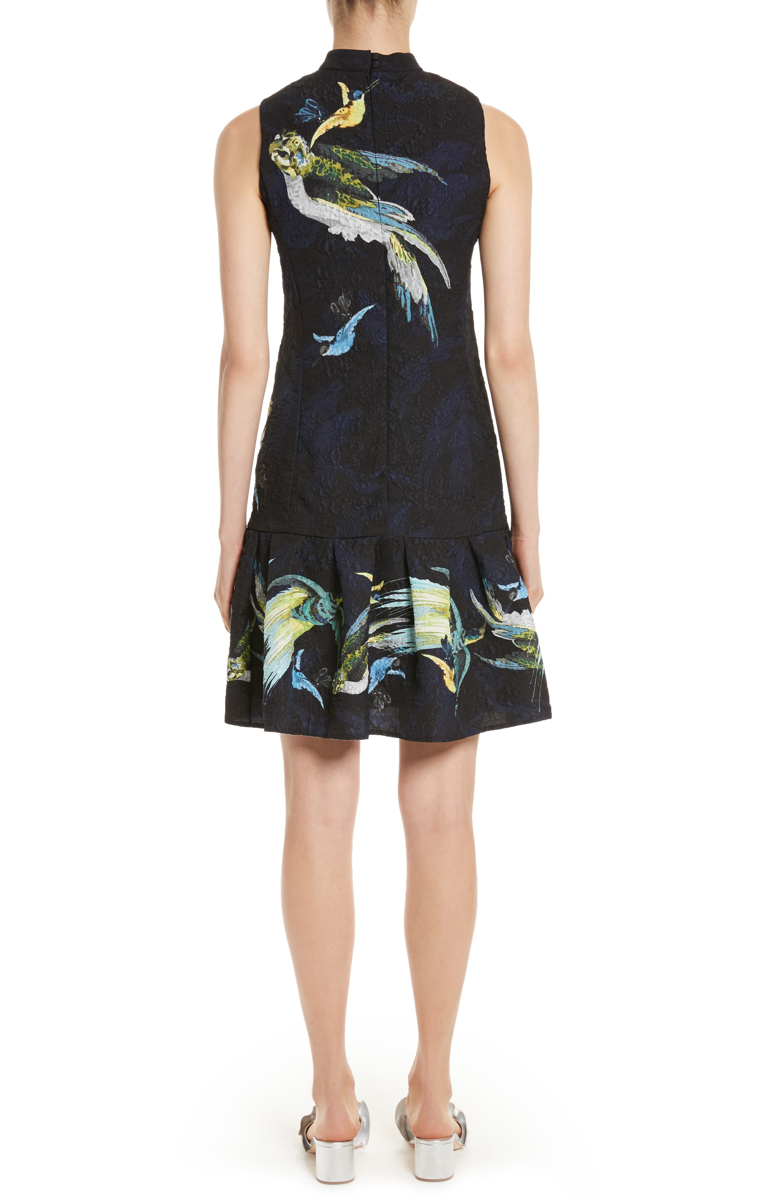 Brocade Drop Waist Ruffle Hem Dress,                             Alternate thumbnail 2, color,                             001