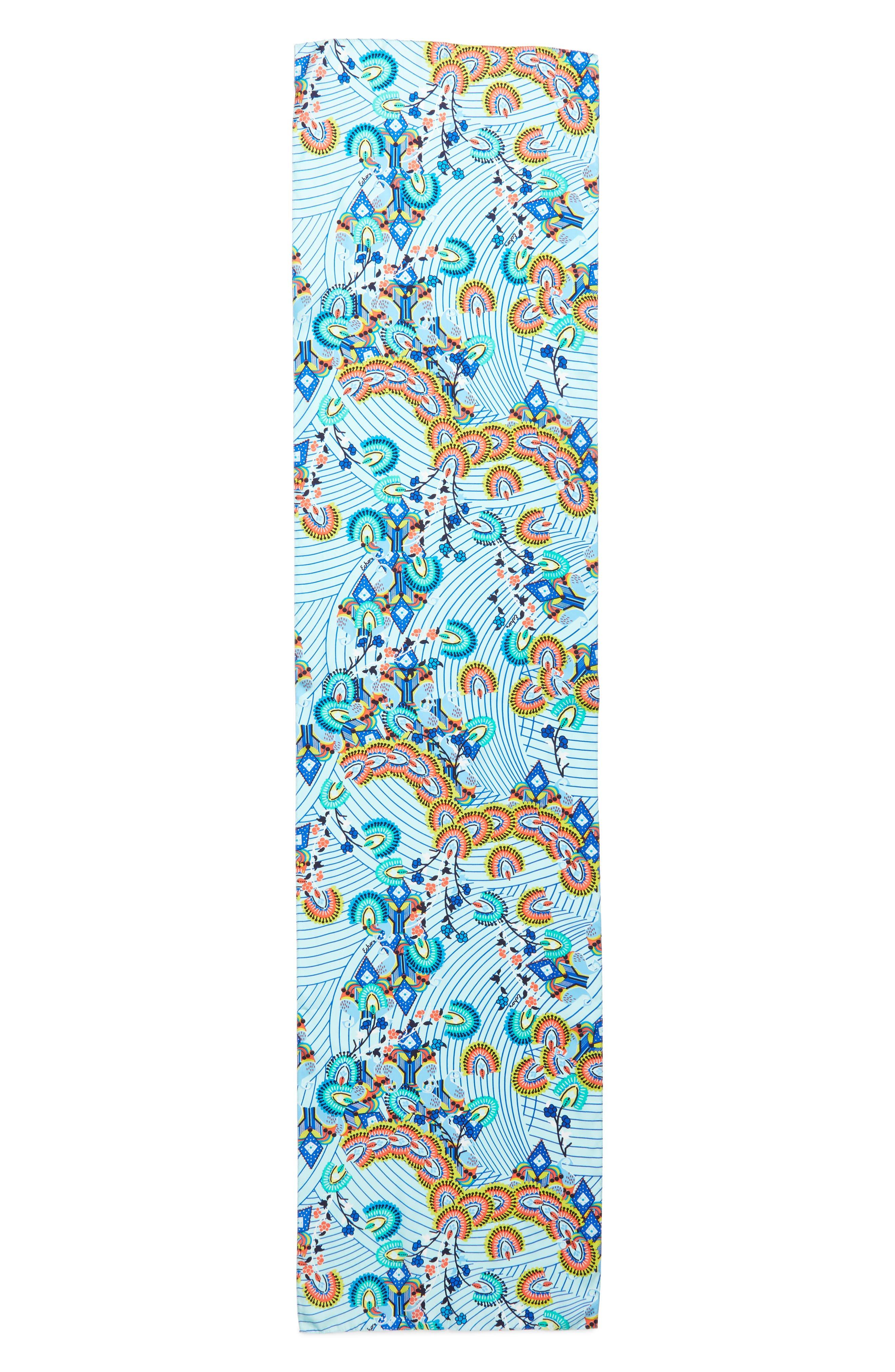 Kingston Silk Scarf,                             Alternate thumbnail 3, color,                             BLUE GROTTO