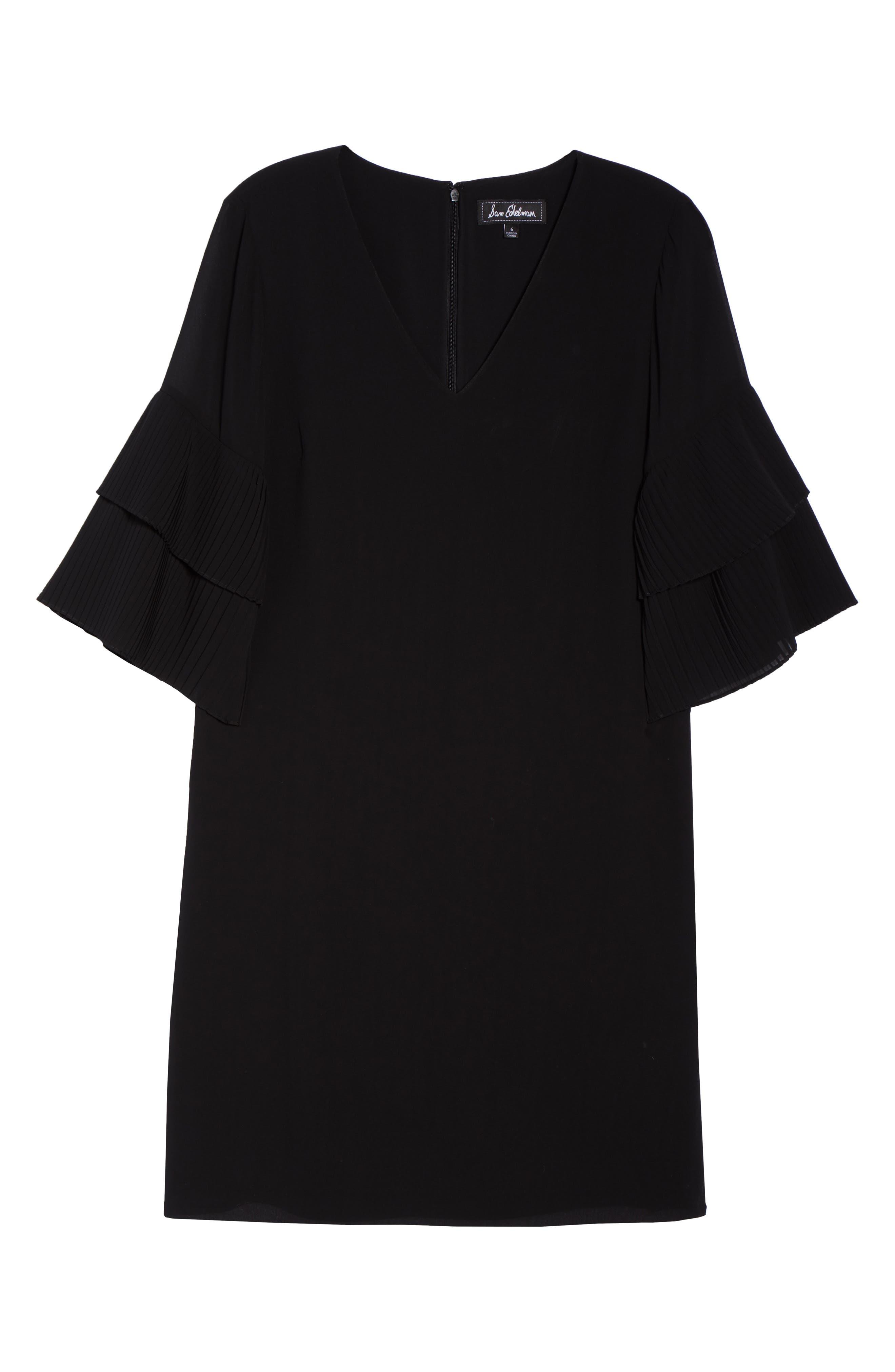 Pleat Sleeve Shift Dress,                             Alternate thumbnail 7, color,                             001