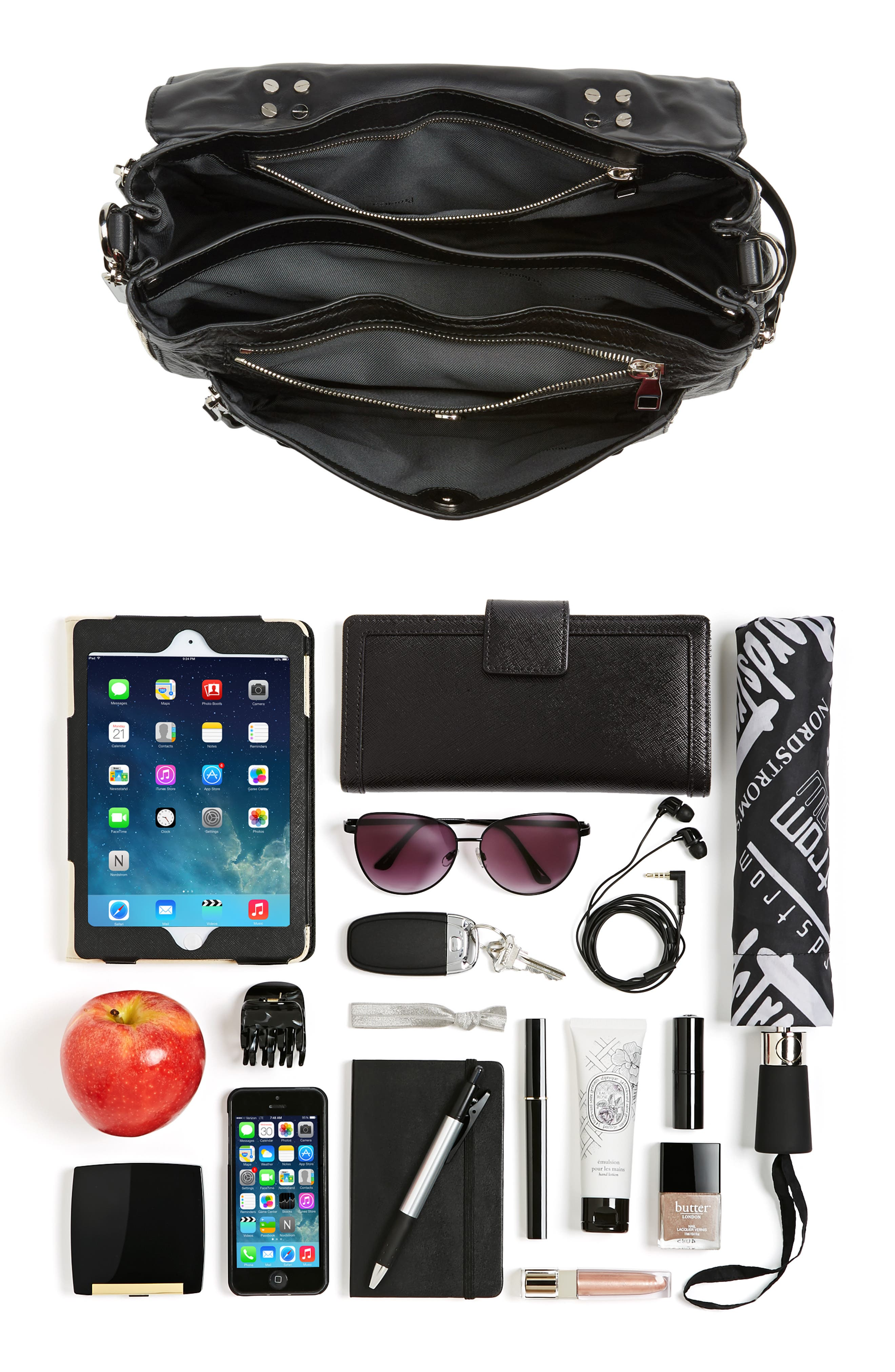 Medium PS1 Paper Leather Satchel,                             Alternate thumbnail 7, color,                             BLACK