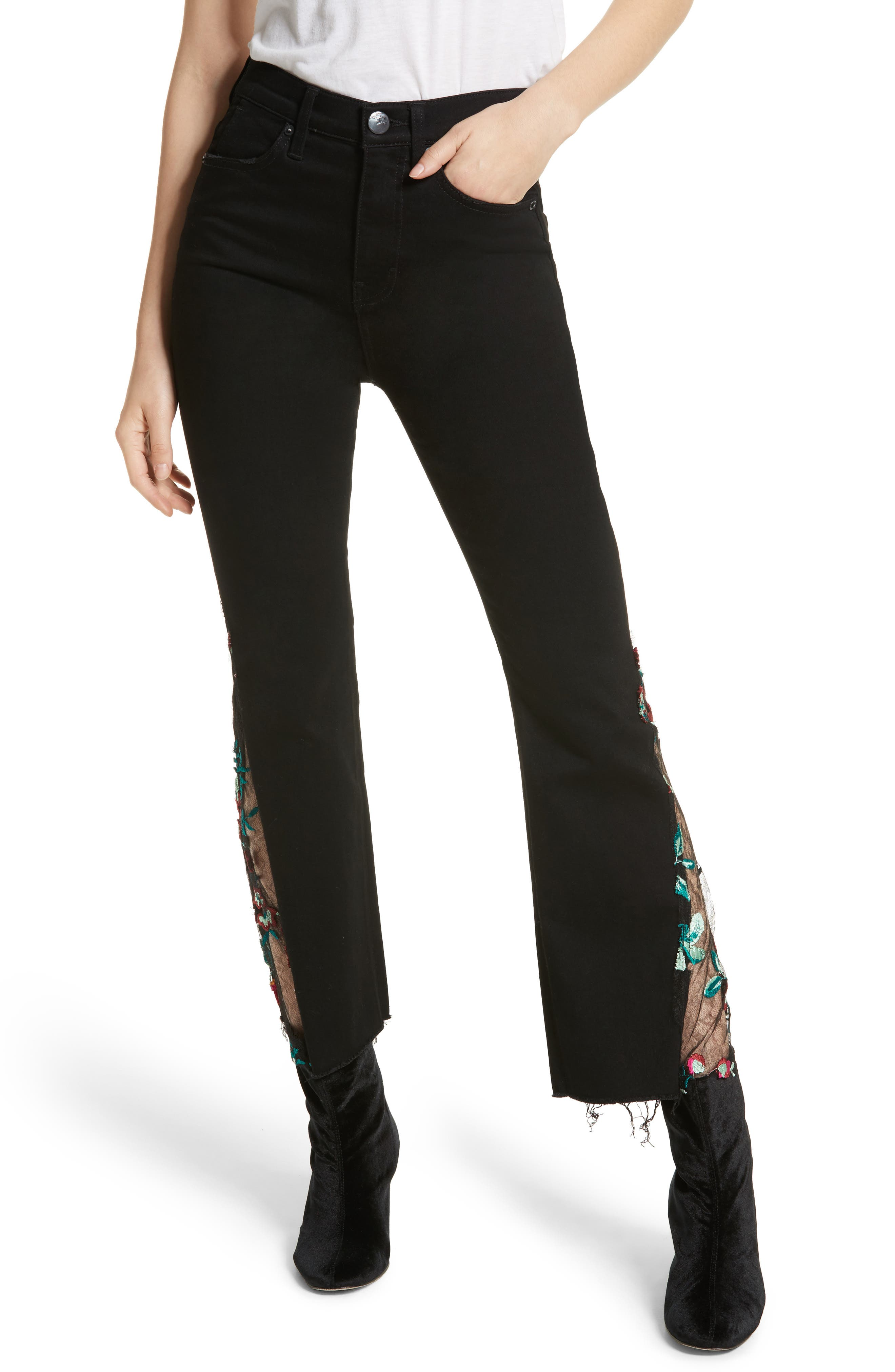 Embroidered Lace Flare Jeans,                             Main thumbnail 1, color,