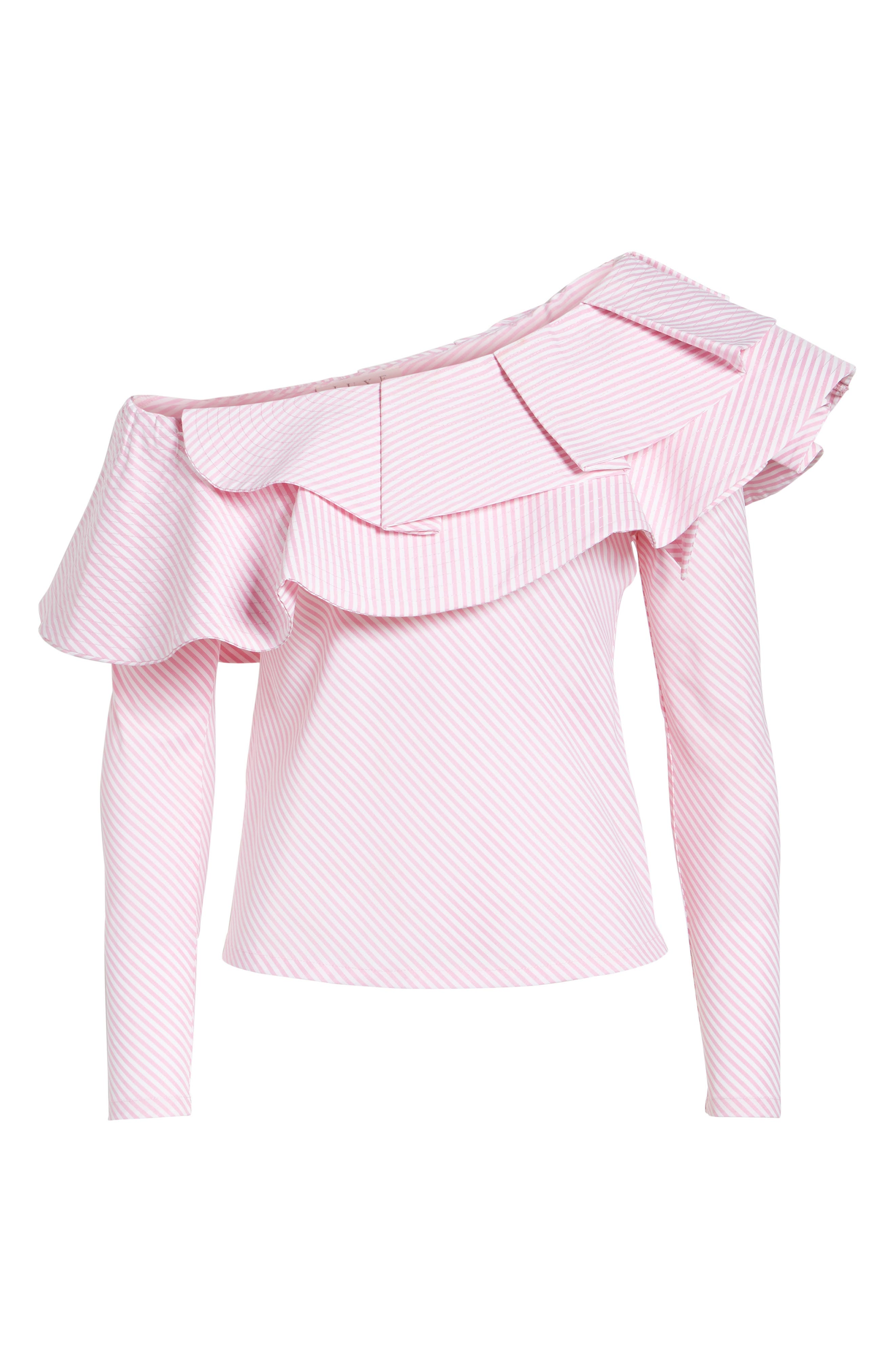 Think Fashion One-Shoulder Top,                             Alternate thumbnail 6, color,