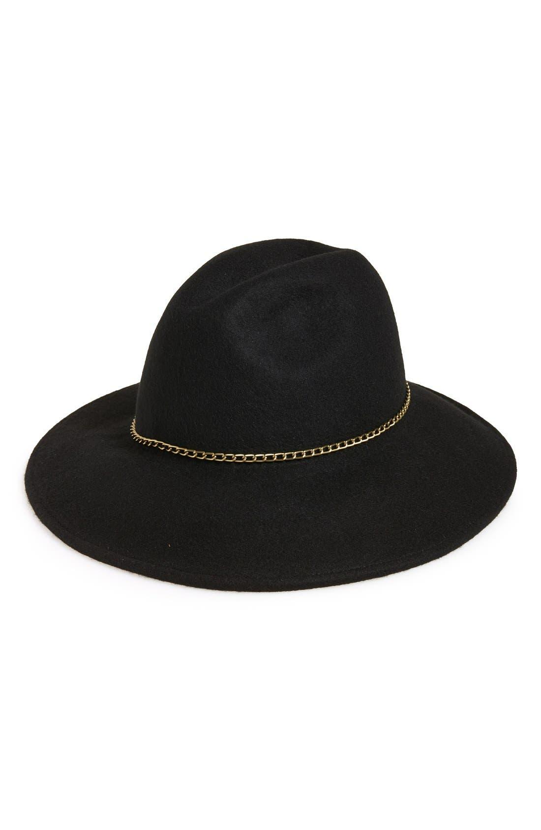 Chain Trim Panama Hat,                             Main thumbnail 1, color,                             001