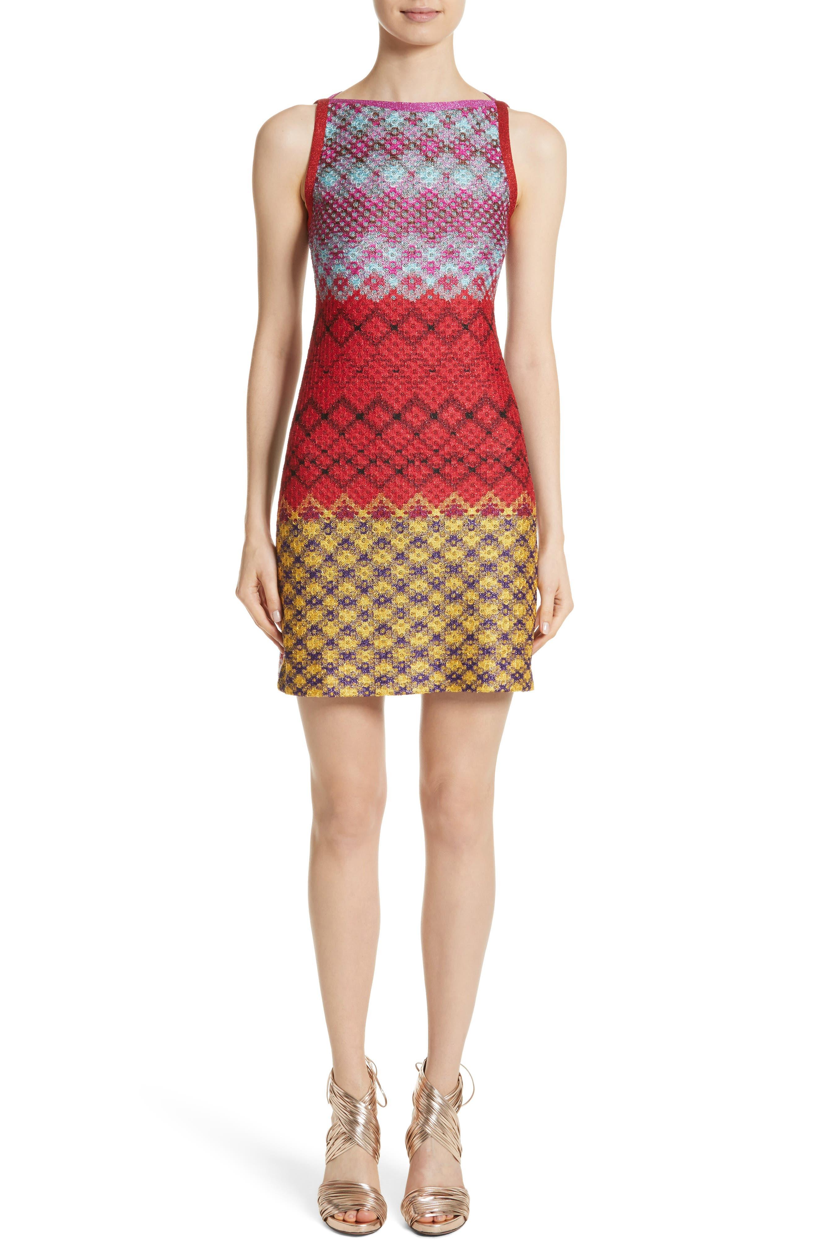 Multi Pattern Knit Dress,                             Main thumbnail 1, color,                             640