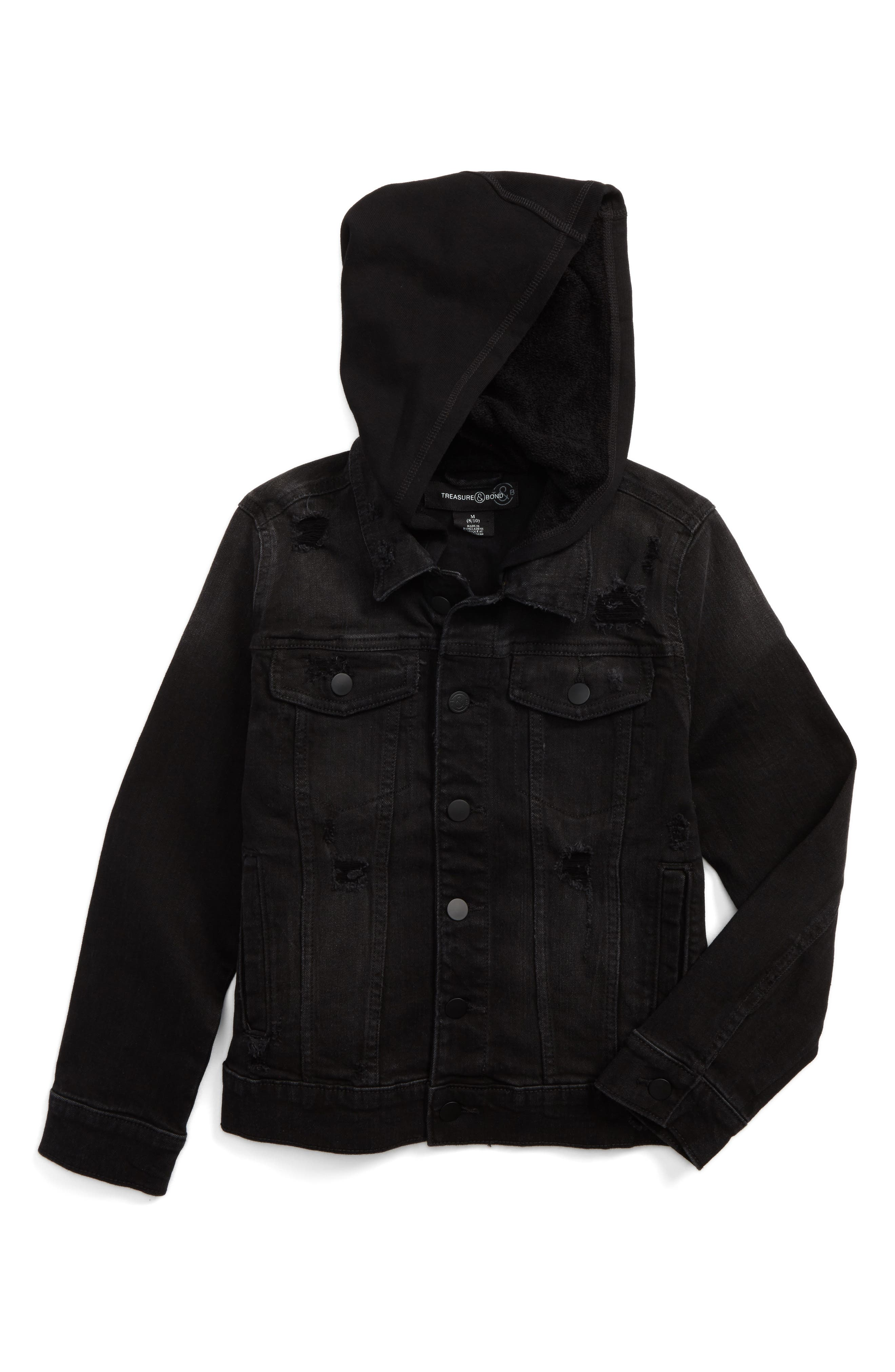 Distressed Denim Hooded Jacket,                             Main thumbnail 1, color,                             001