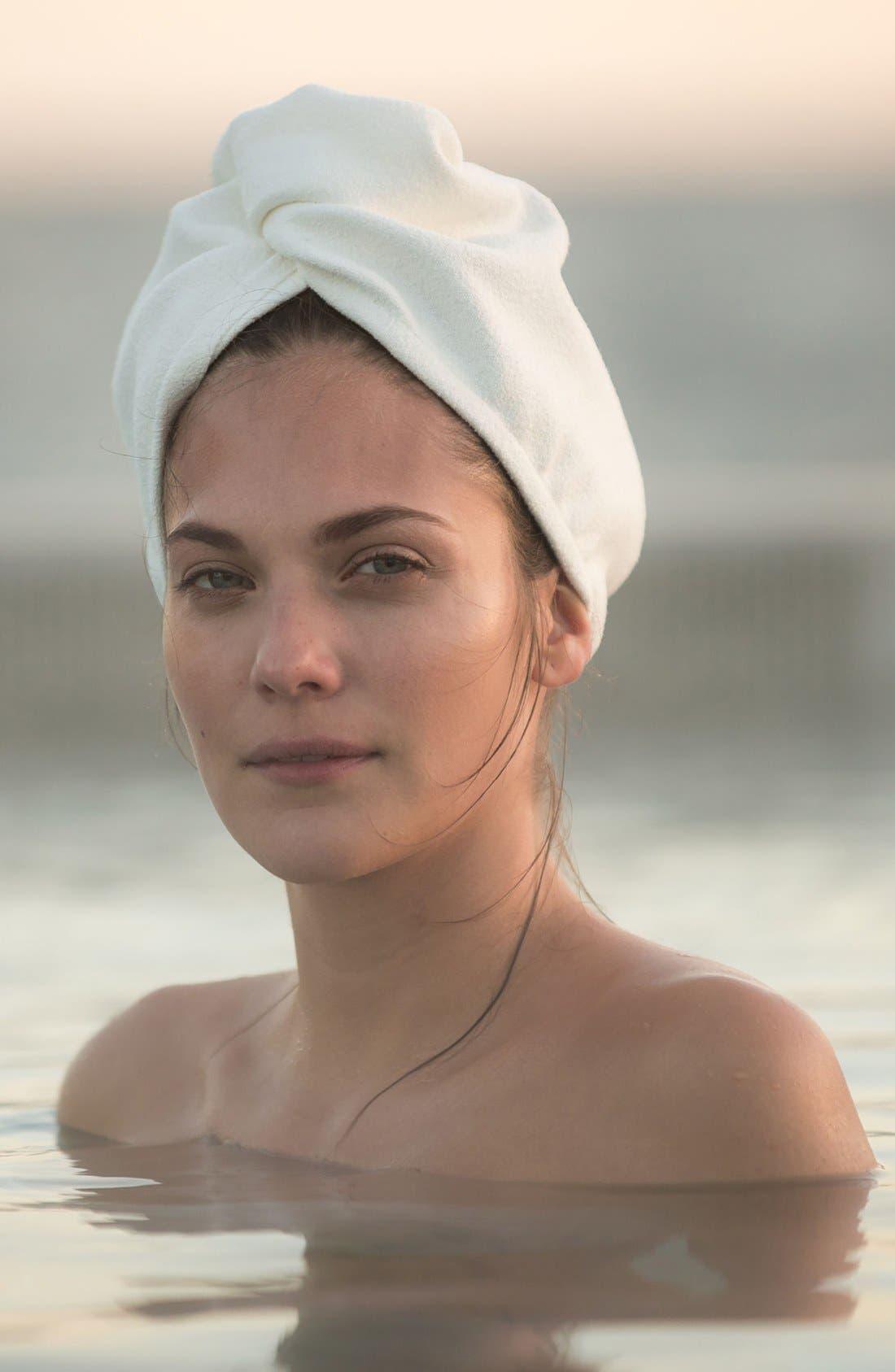 Lisse Luxe White Hair Turban,                             Alternate thumbnail 3, color,