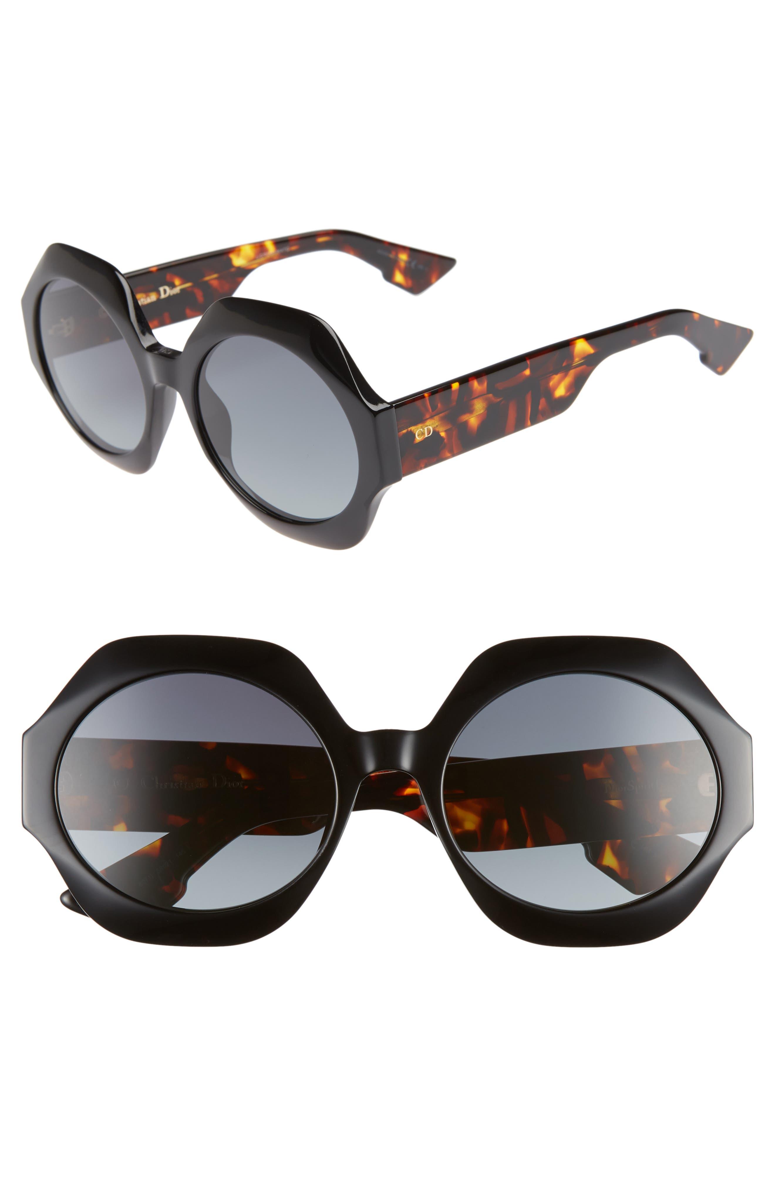 Spirit1 58mm Geometric Sunglasses,                             Main thumbnail 1, color,                             BLACK