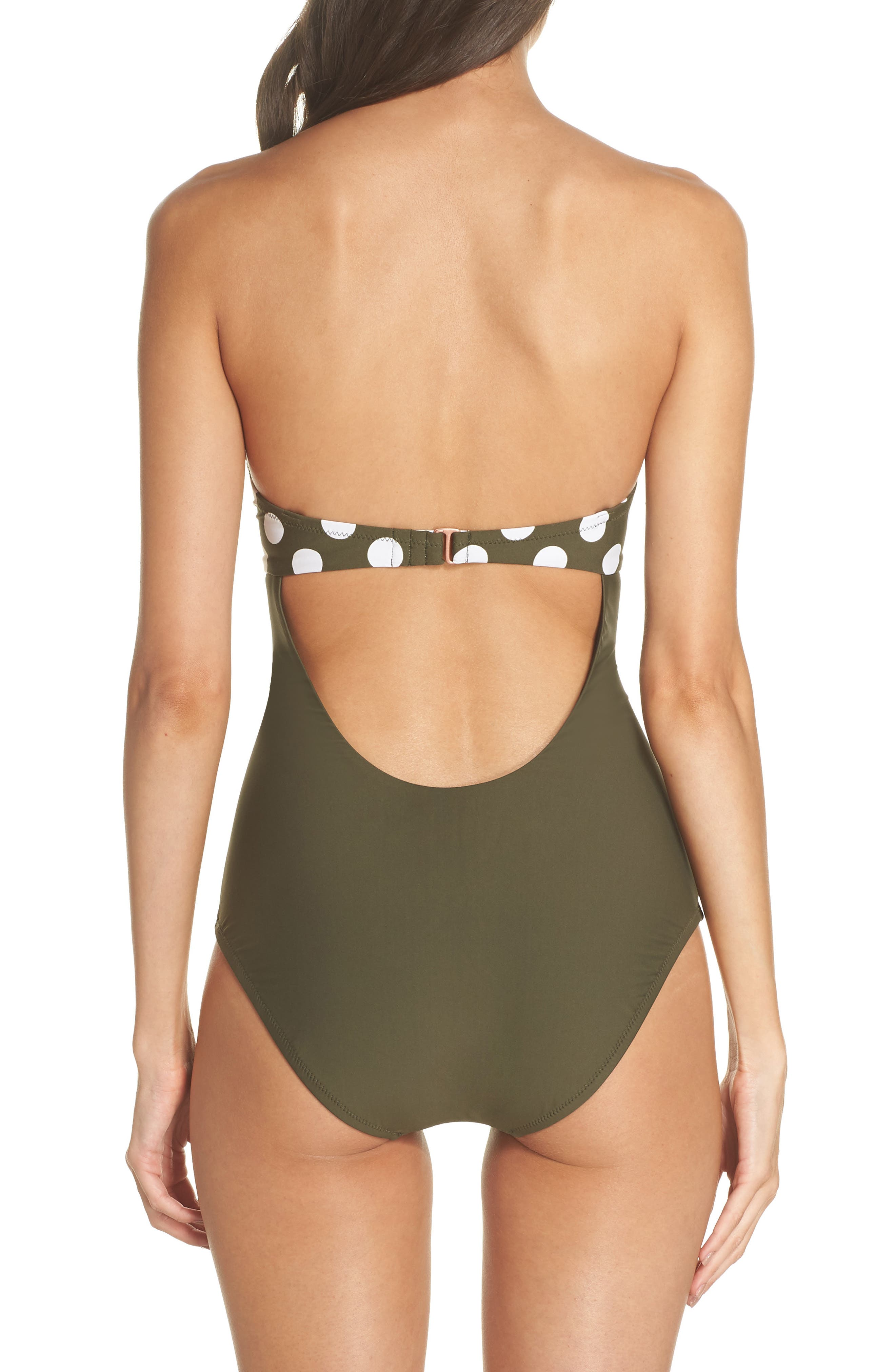 Scallop Bandeau One-Piece Swimsuit,                             Alternate thumbnail 3, color,                             OLIVE SARMA/ IVORY EGRET DOT