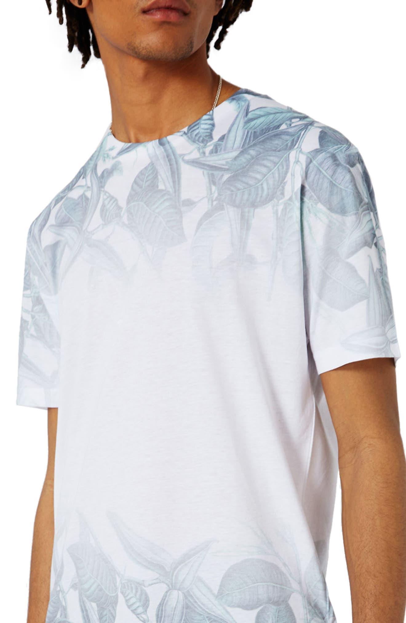 Slim Fit Leaf Print T-Shirt,                             Alternate thumbnail 3, color,                             100