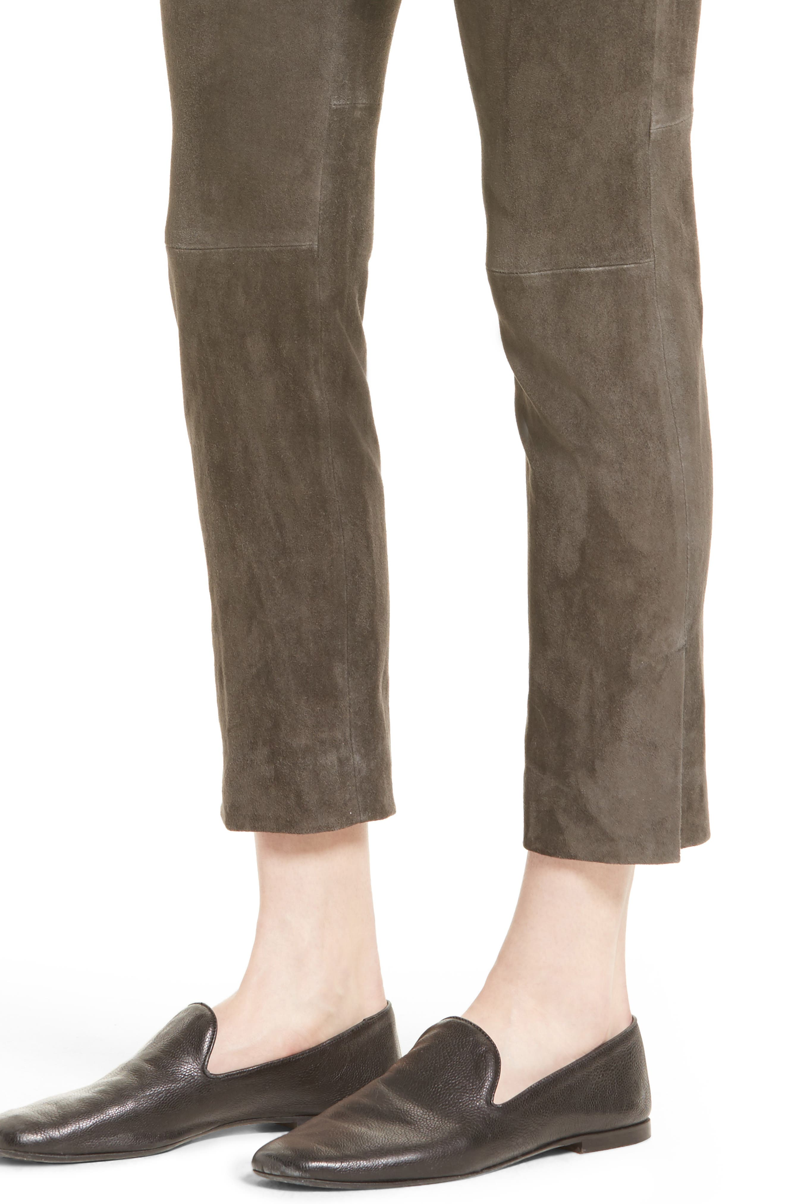 Stretch Suede Crop Pants,                             Alternate thumbnail 4, color,                             082