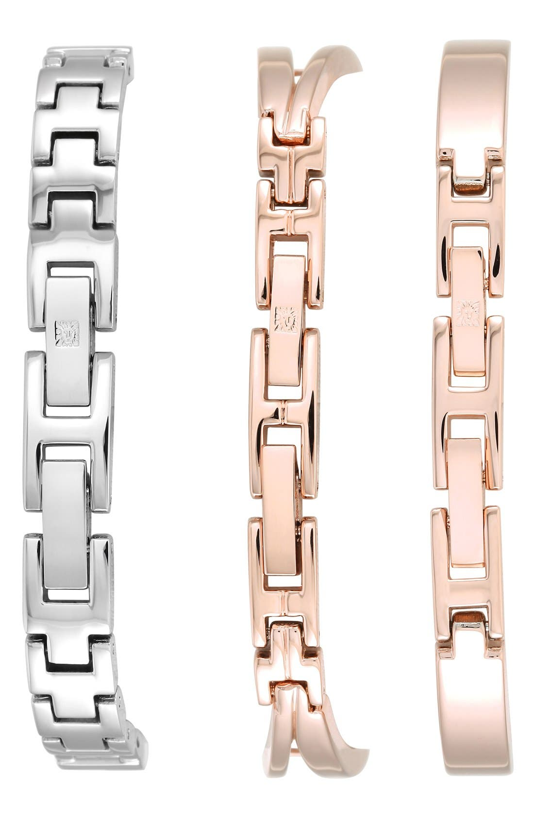 Round Watch & Bangle Set, 26mm,                             Alternate thumbnail 3, color,                             ROSE GOLD/ SILVER