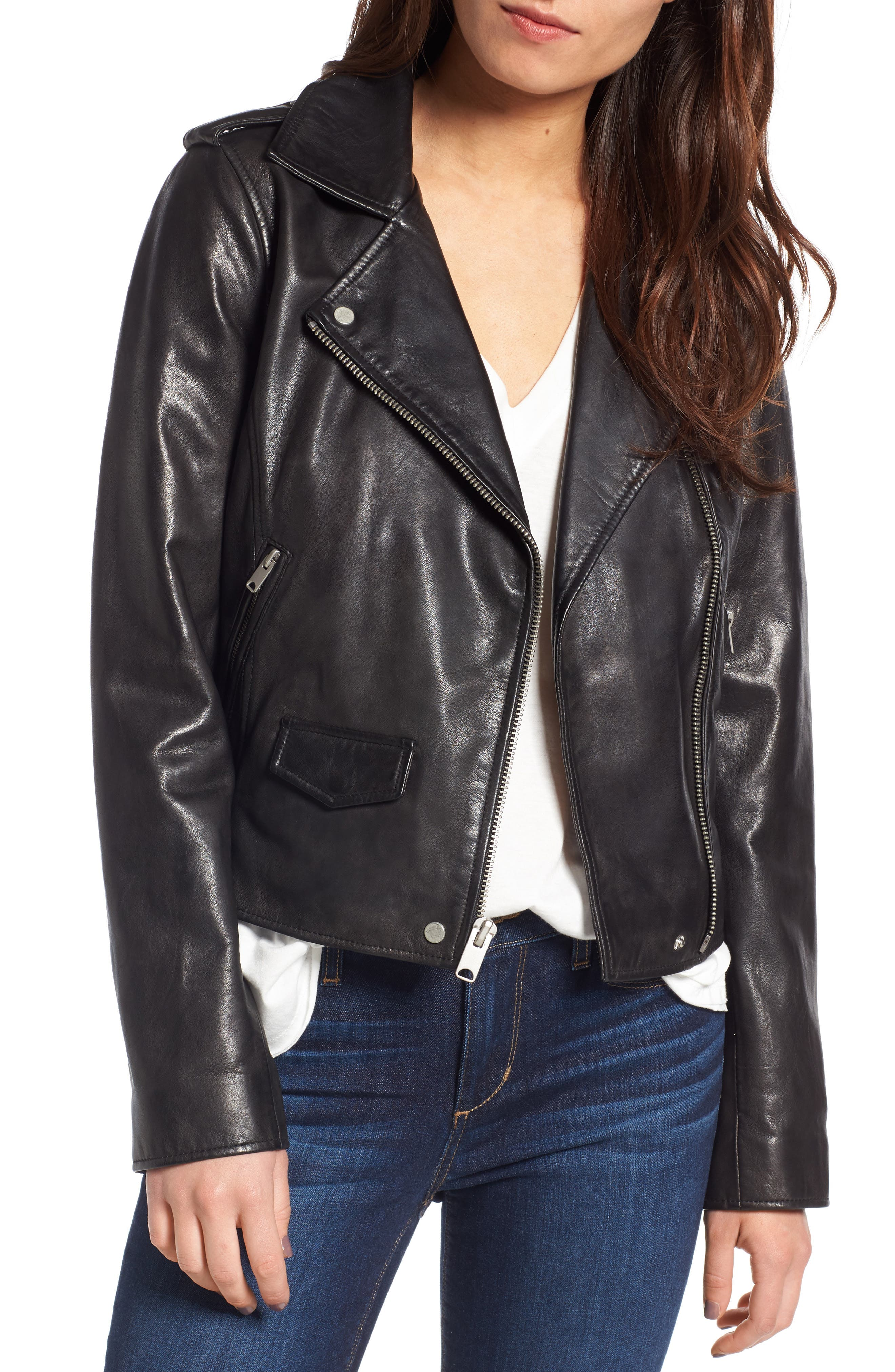 Andrew Marc Wesley Washed Leather Biker Jacket,                             Main thumbnail 1, color,                             001