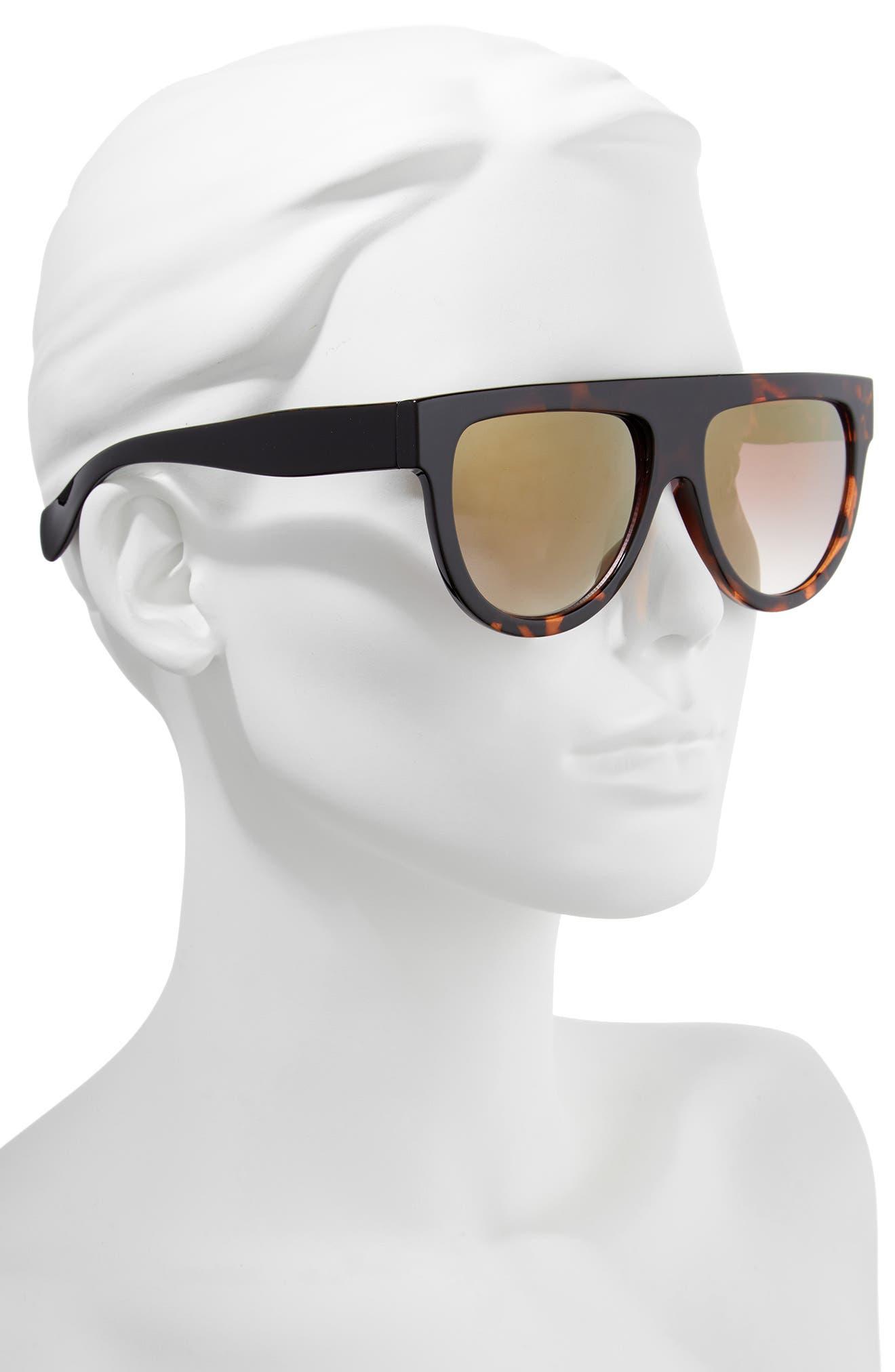 68mm Flat Top Sunglasses,                             Alternate thumbnail 3, color,