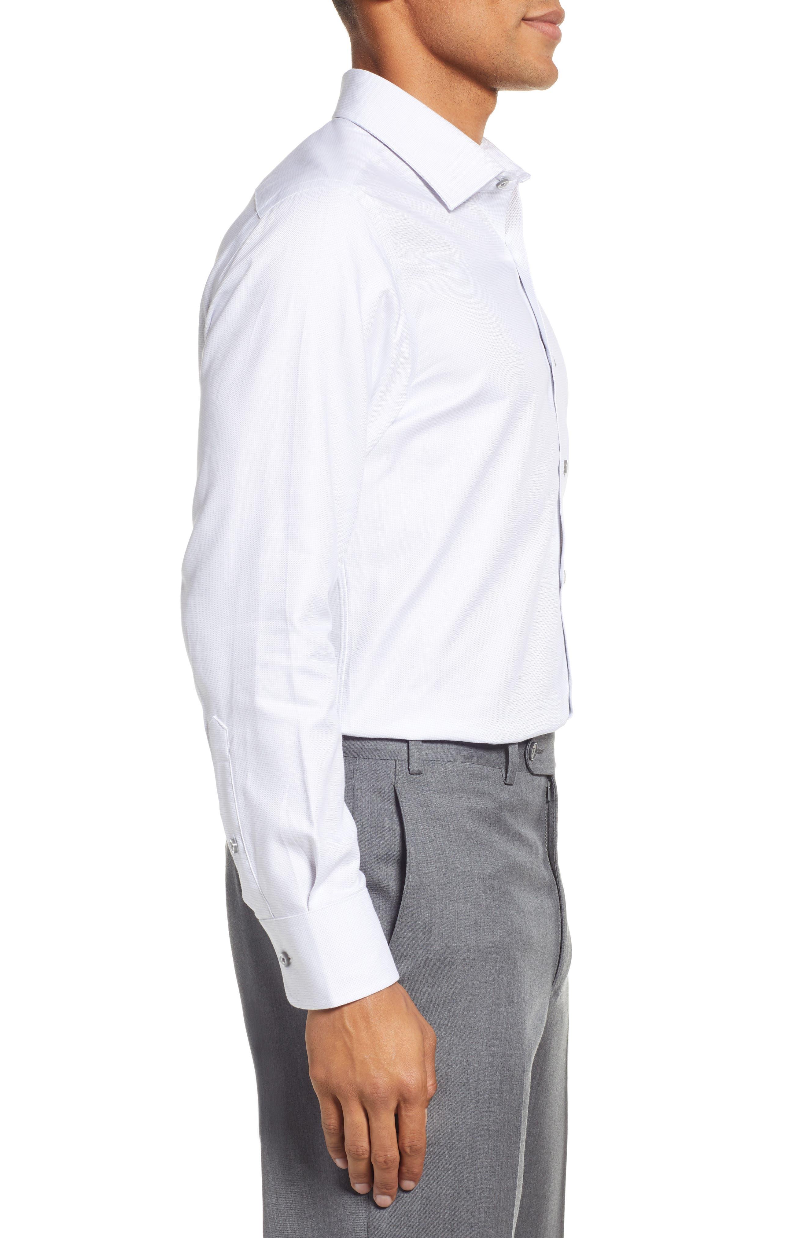Slim Fit Solid Dress Shirt,                             Alternate thumbnail 4, color,                             GREY DOBBY