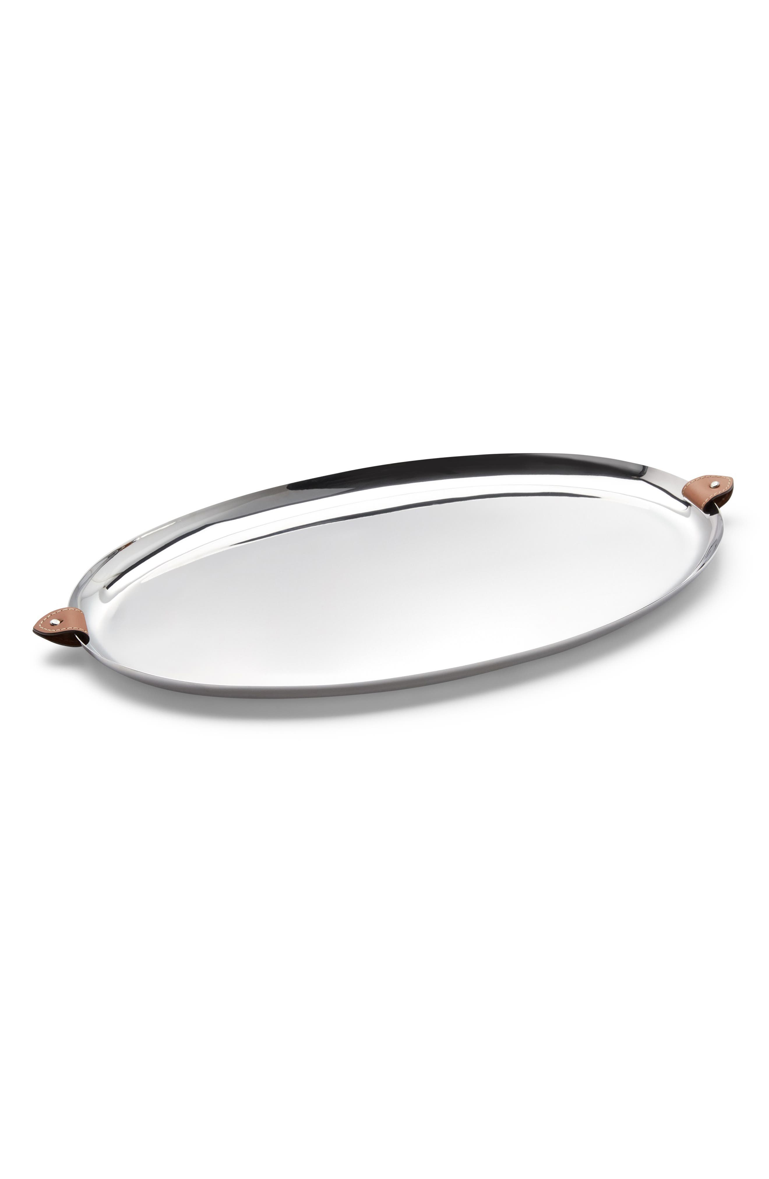 Wyatt Oval Serving Tray,                             Main thumbnail 1, color,                             SADDLE/ SILVER