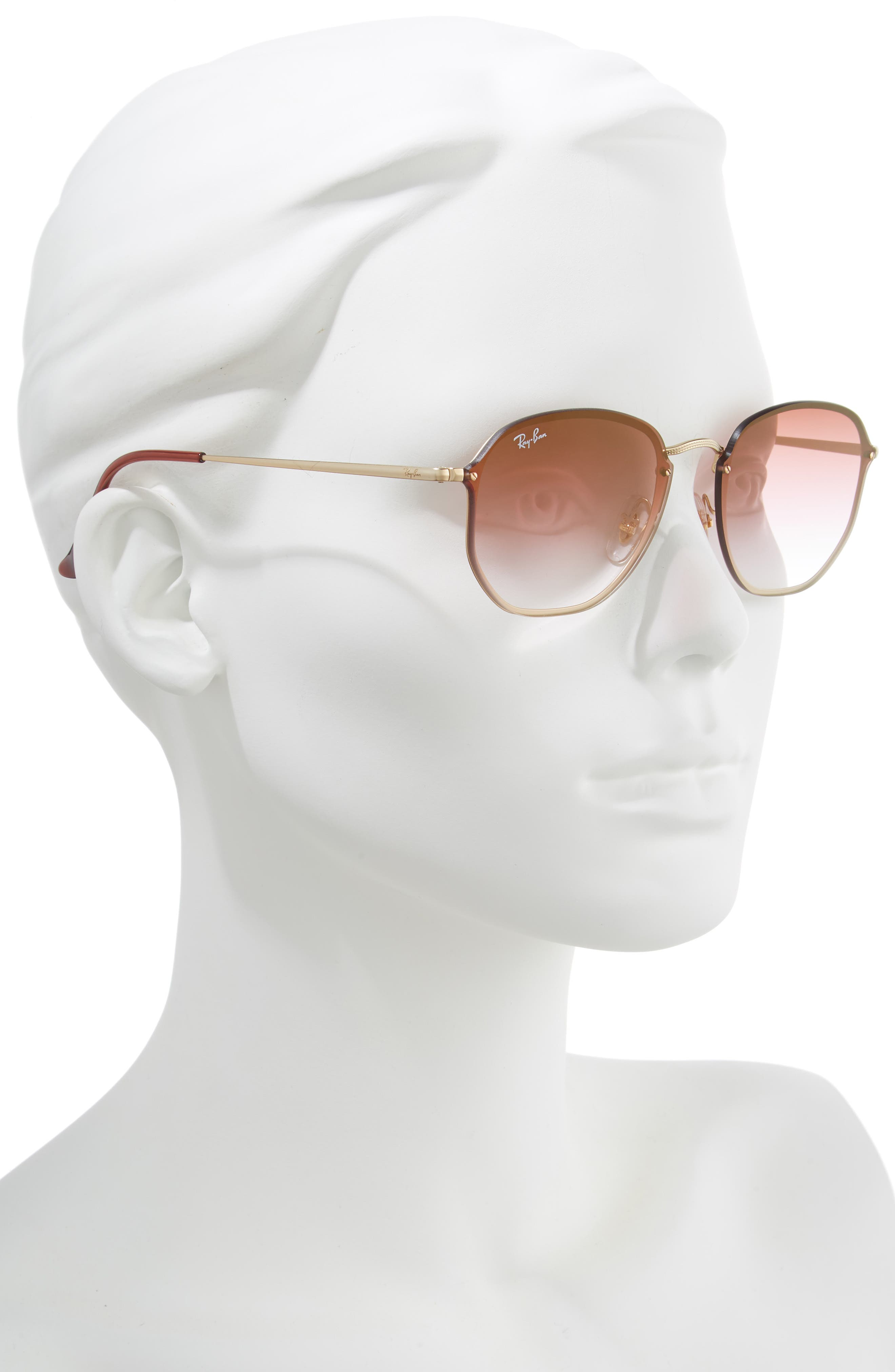 58mm Round Sunglasses,                             Alternate thumbnail 2, color,                             GOLD/ BROWN PINK GRADIENT