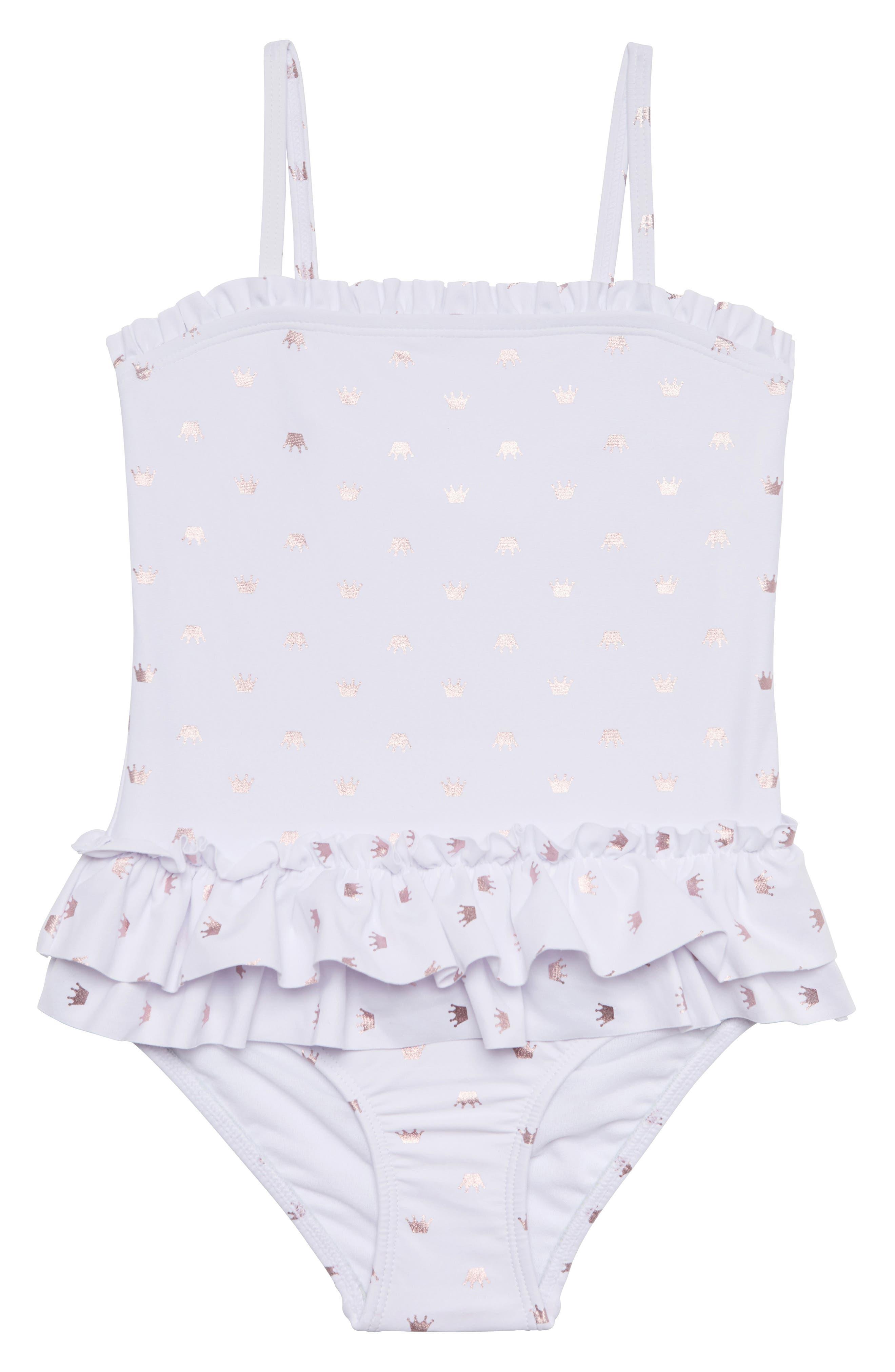 Pretty Princess One-Piece Swimsuit,                         Main,                         color, WHITE