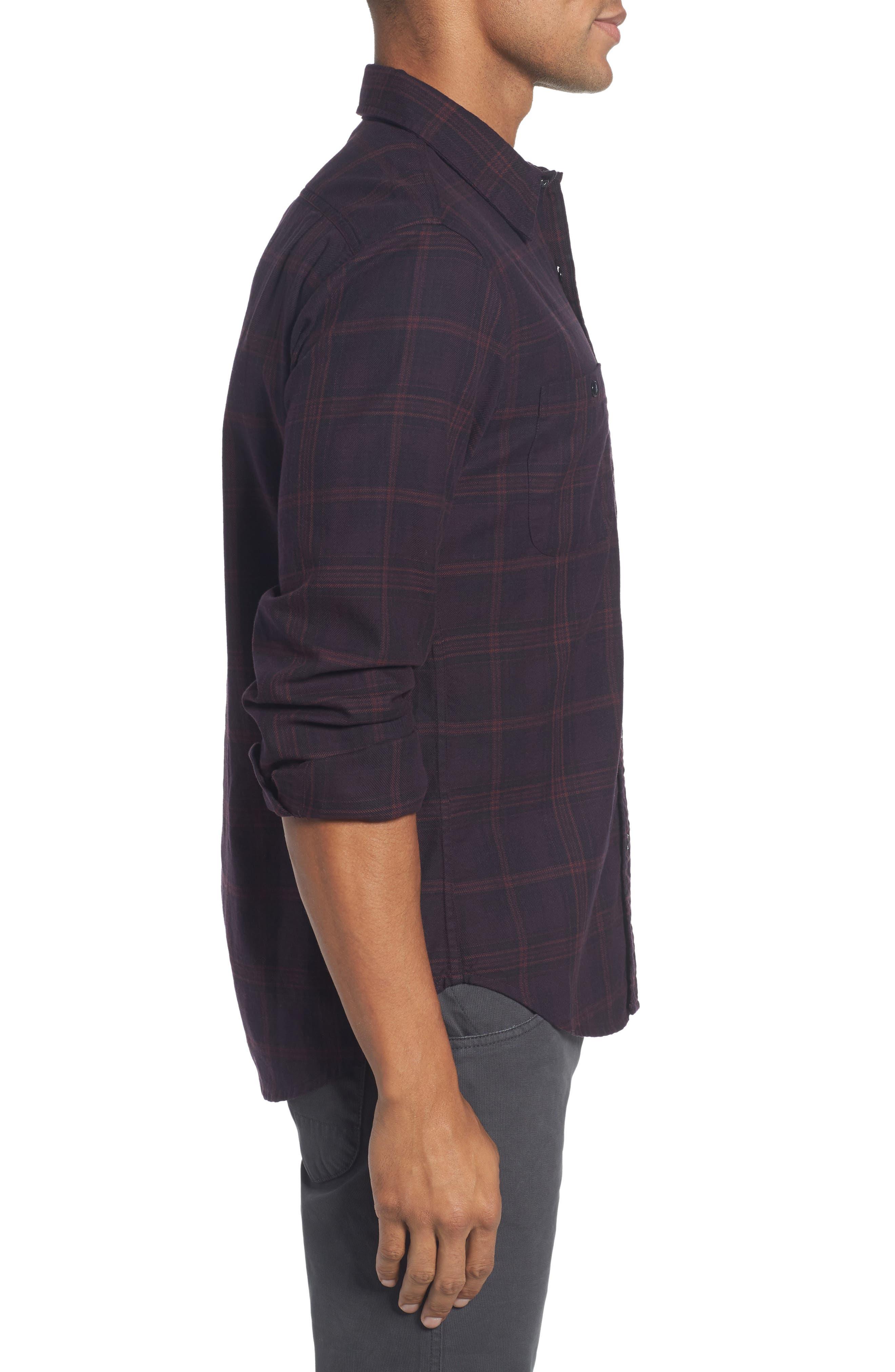 Slim Fit Check Flannel Sport Shirt,                             Alternate thumbnail 3, color,                             600