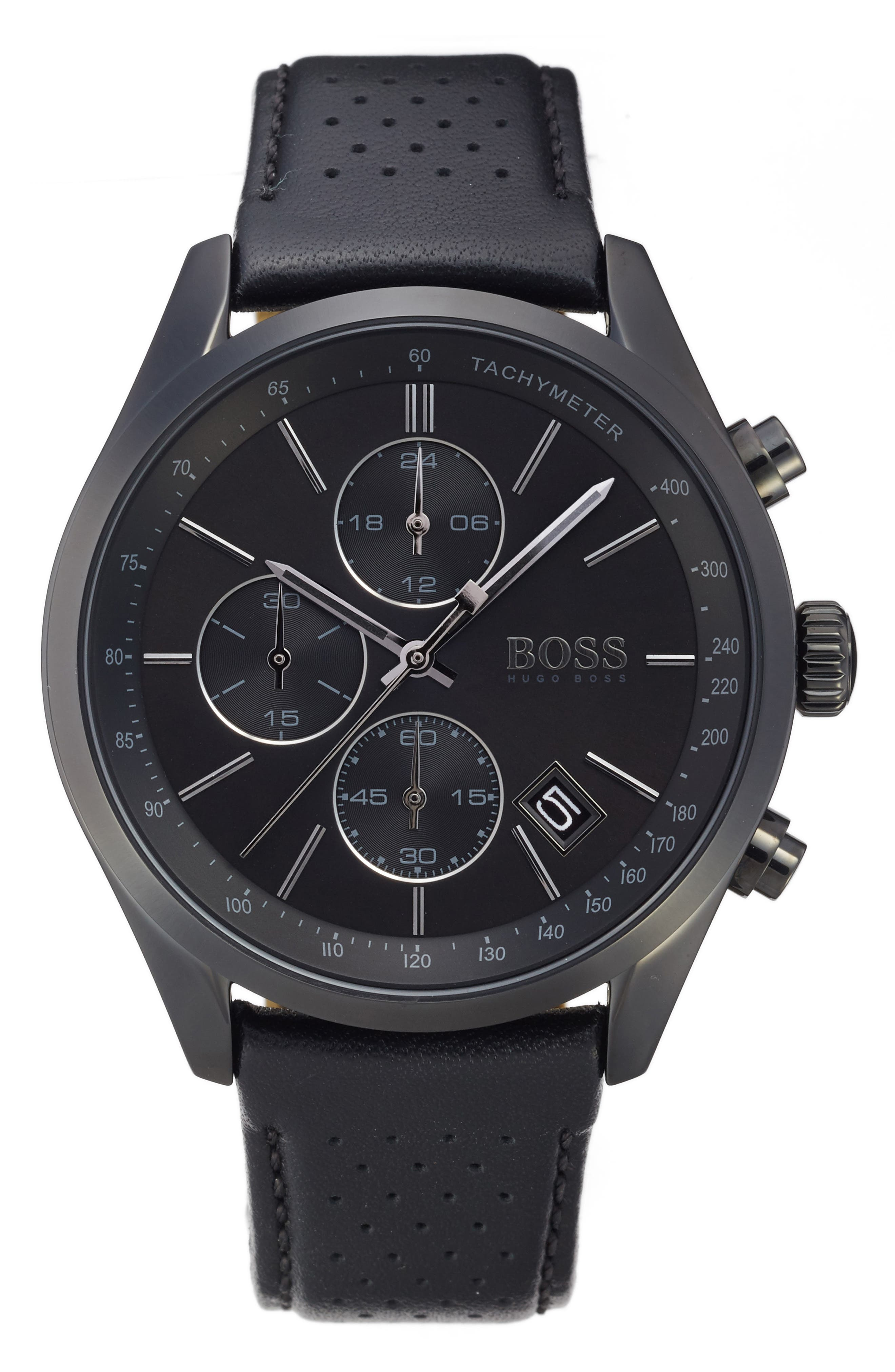 Grand Prix Leather Strap Chronograph Watch, 44mm,                             Main thumbnail 1, color,                             200