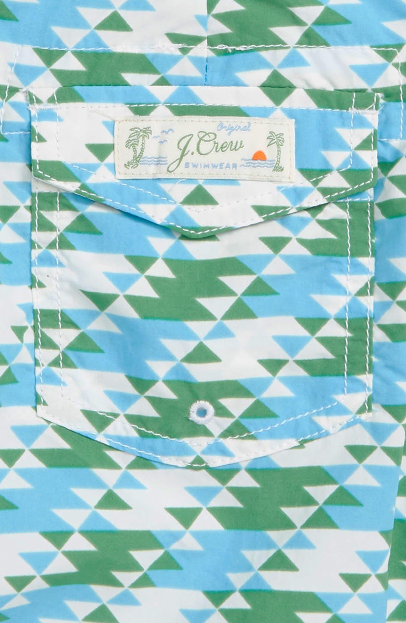 Geo Print Board Shorts,                             Alternate thumbnail 3, color,                             IVORY GREEN TEAL