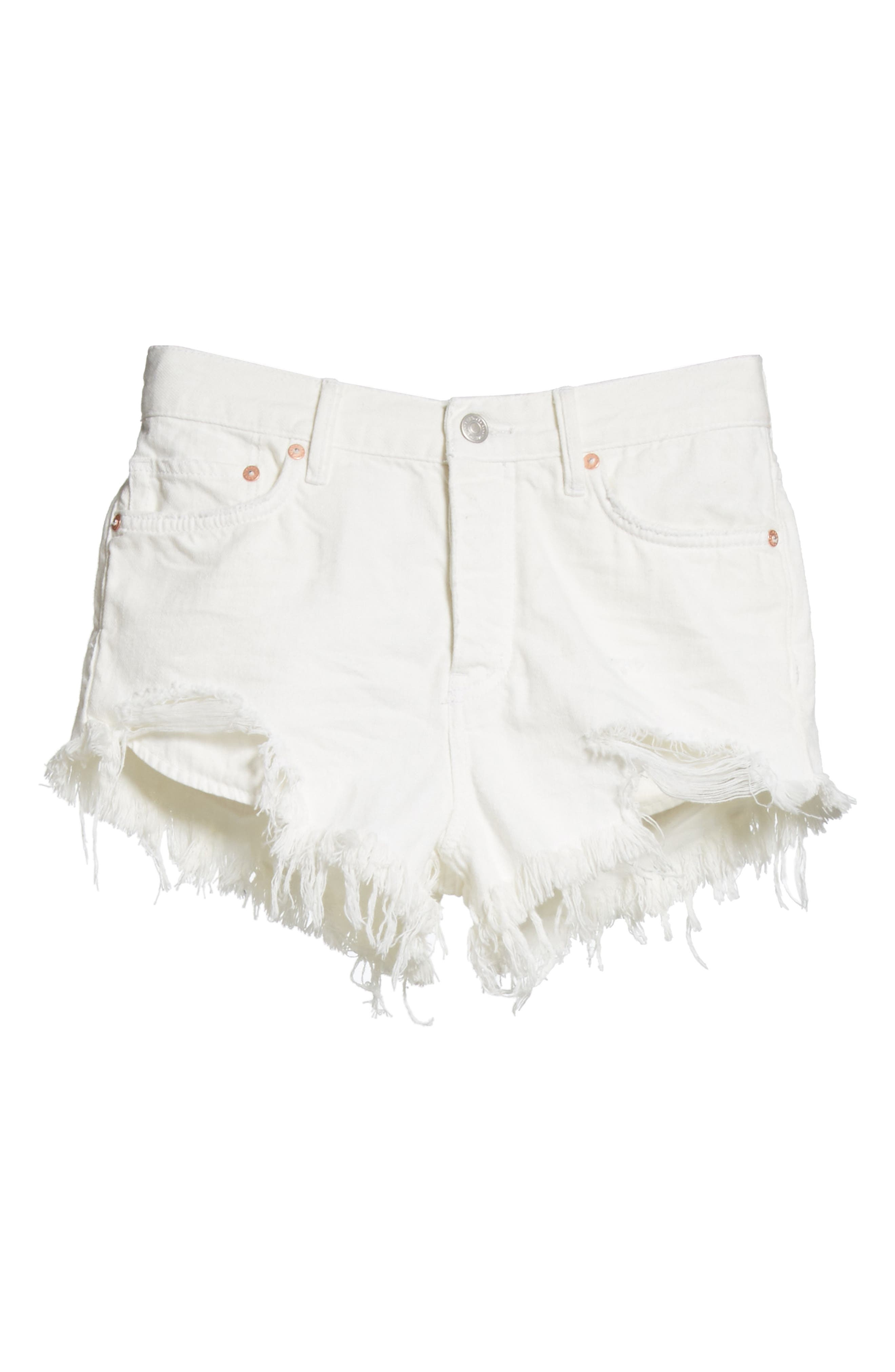 We the Free by Free People Loving Good Vibrations Cutoff Denim Shorts,                             Alternate thumbnail 7, color,                             WHITE