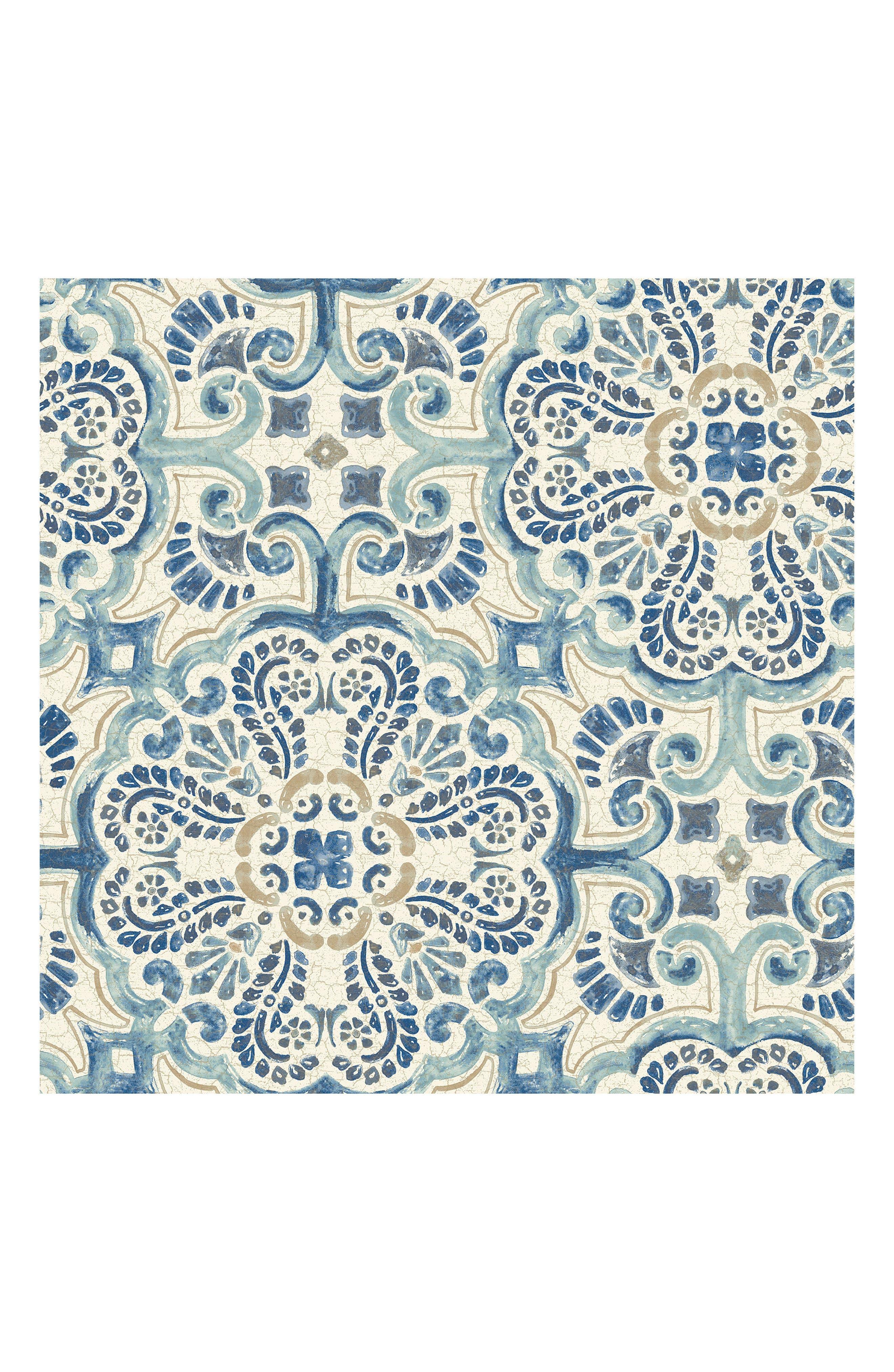 Blue Florentine Tile Peel & Stick Vinyl Wallpaper,                             Main thumbnail 1, color,                             400