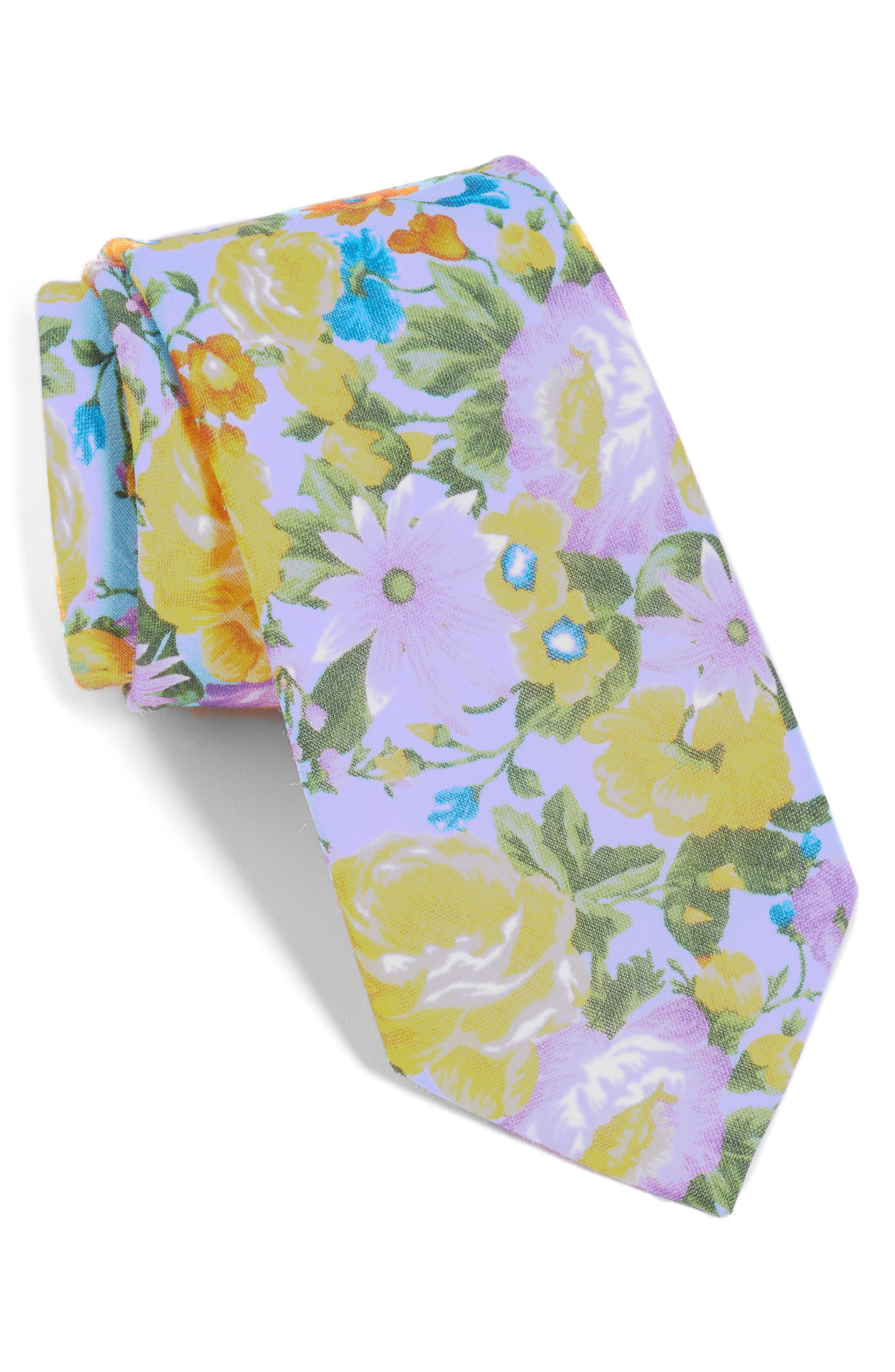 Duke Floral Linen Tie,                         Main,                         color, LIGHT BLUE