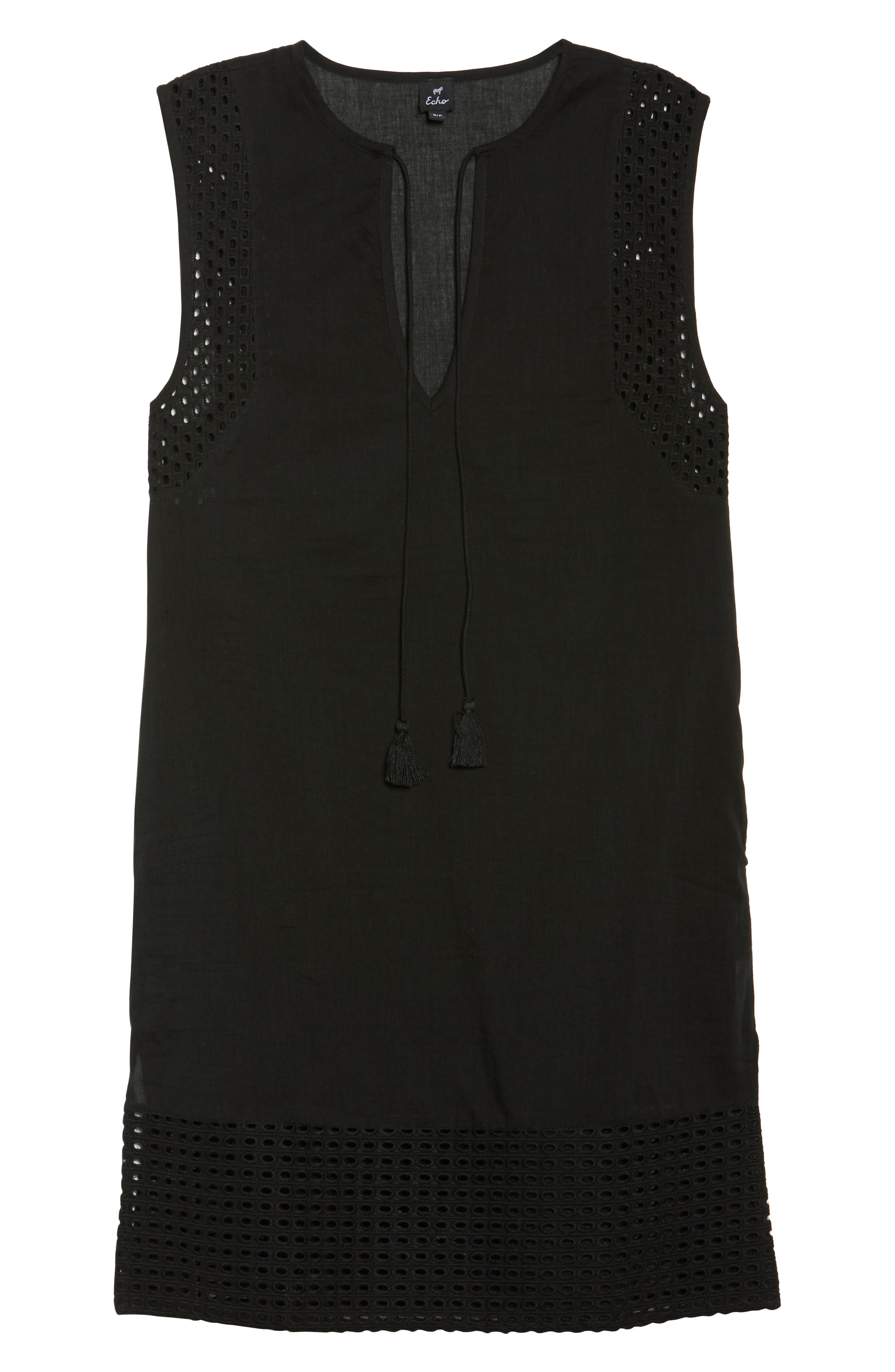 Eyelet Trim Cover-Up Tunic,                             Alternate thumbnail 6, color,                             001