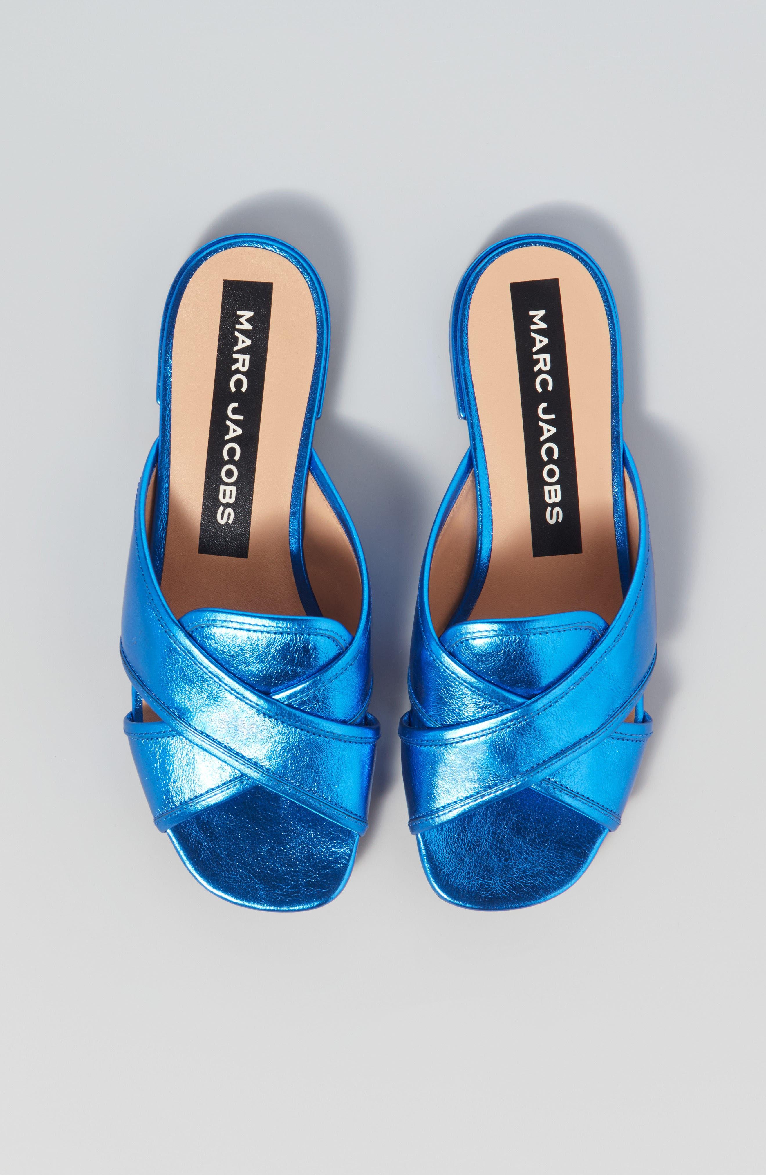 Aurora Metallic Slide Sandal,                             Alternate thumbnail 7, color,                             BLUE