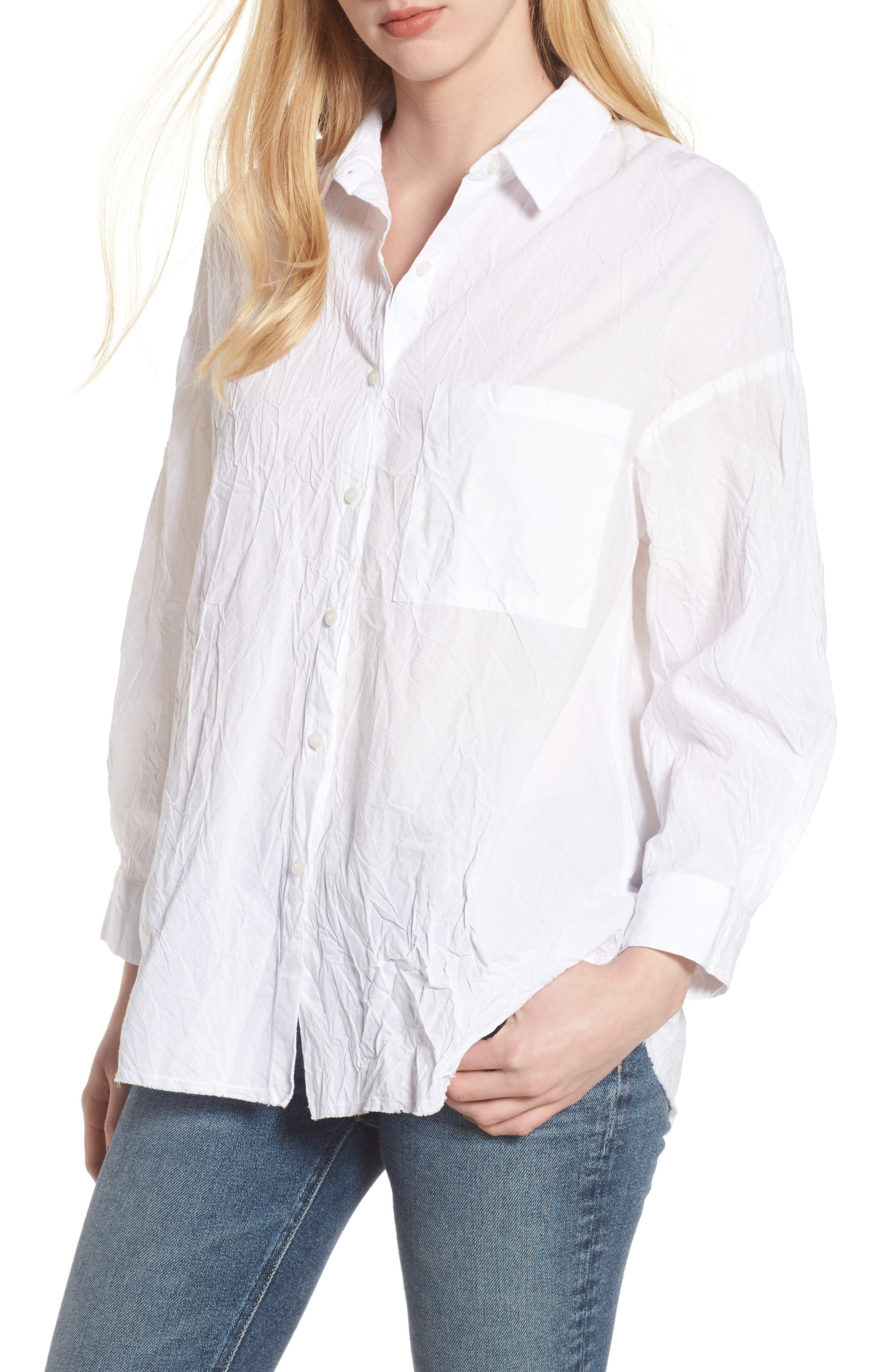 Oversize Button Front Shirt,                         Main,                         color, WHITE