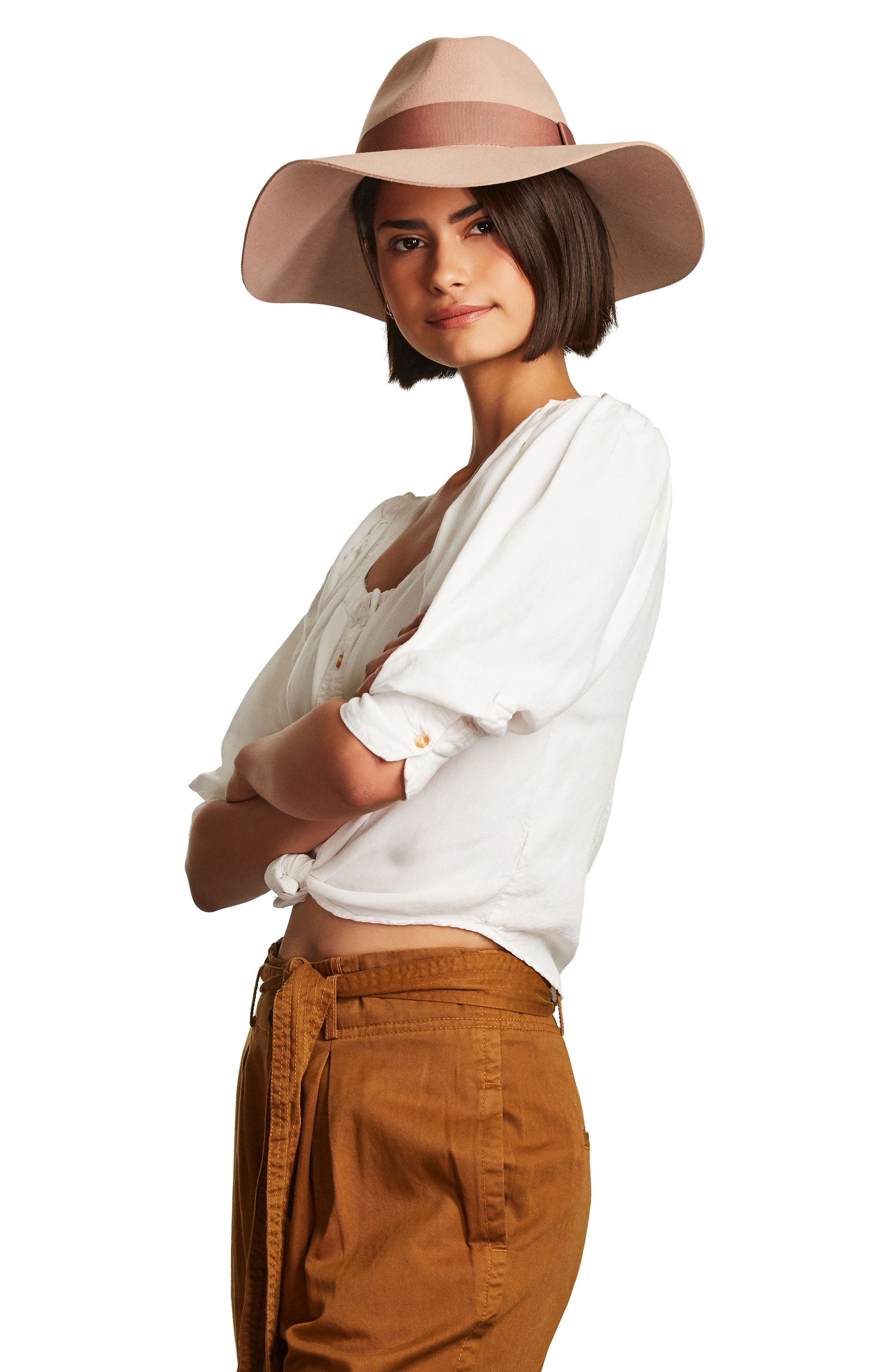 BRIXTON,                             'Piper' Floppy Wool Hat,                             Alternate thumbnail 5, color,                             TAN/ DARK BROWN