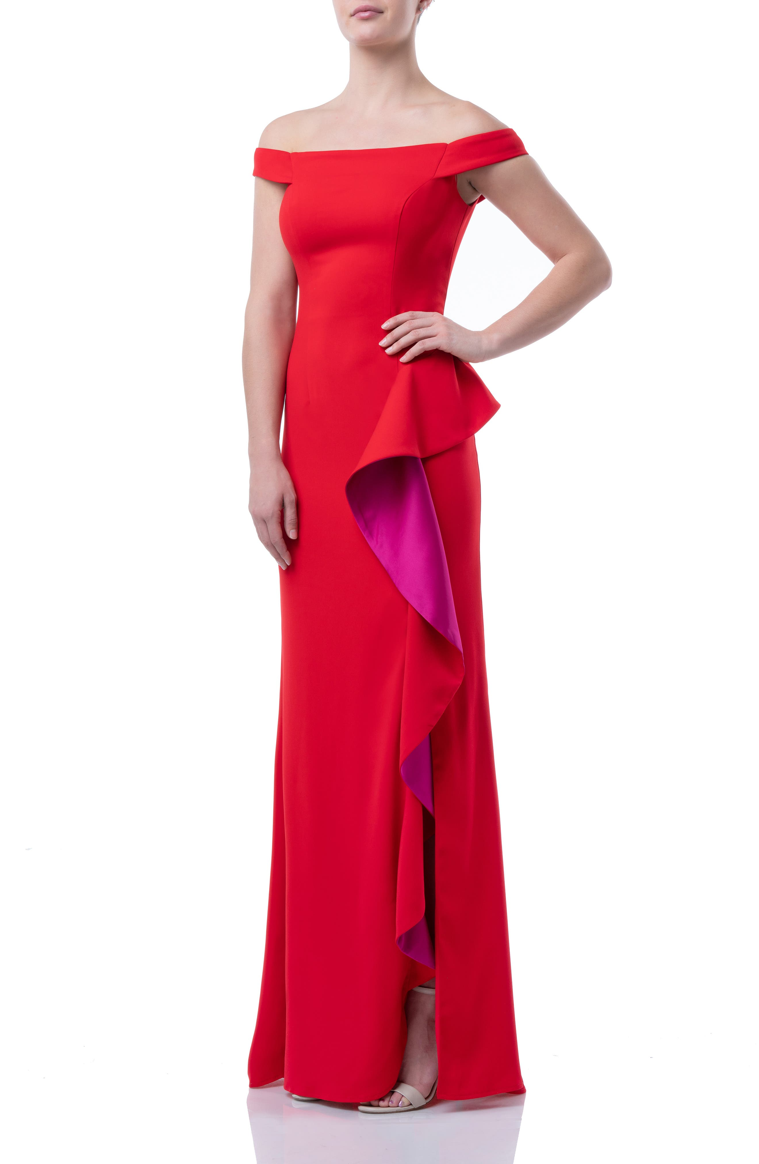 Carmen Marc Valvo Infusion Ruffle Off The Shoulder Gown, Red