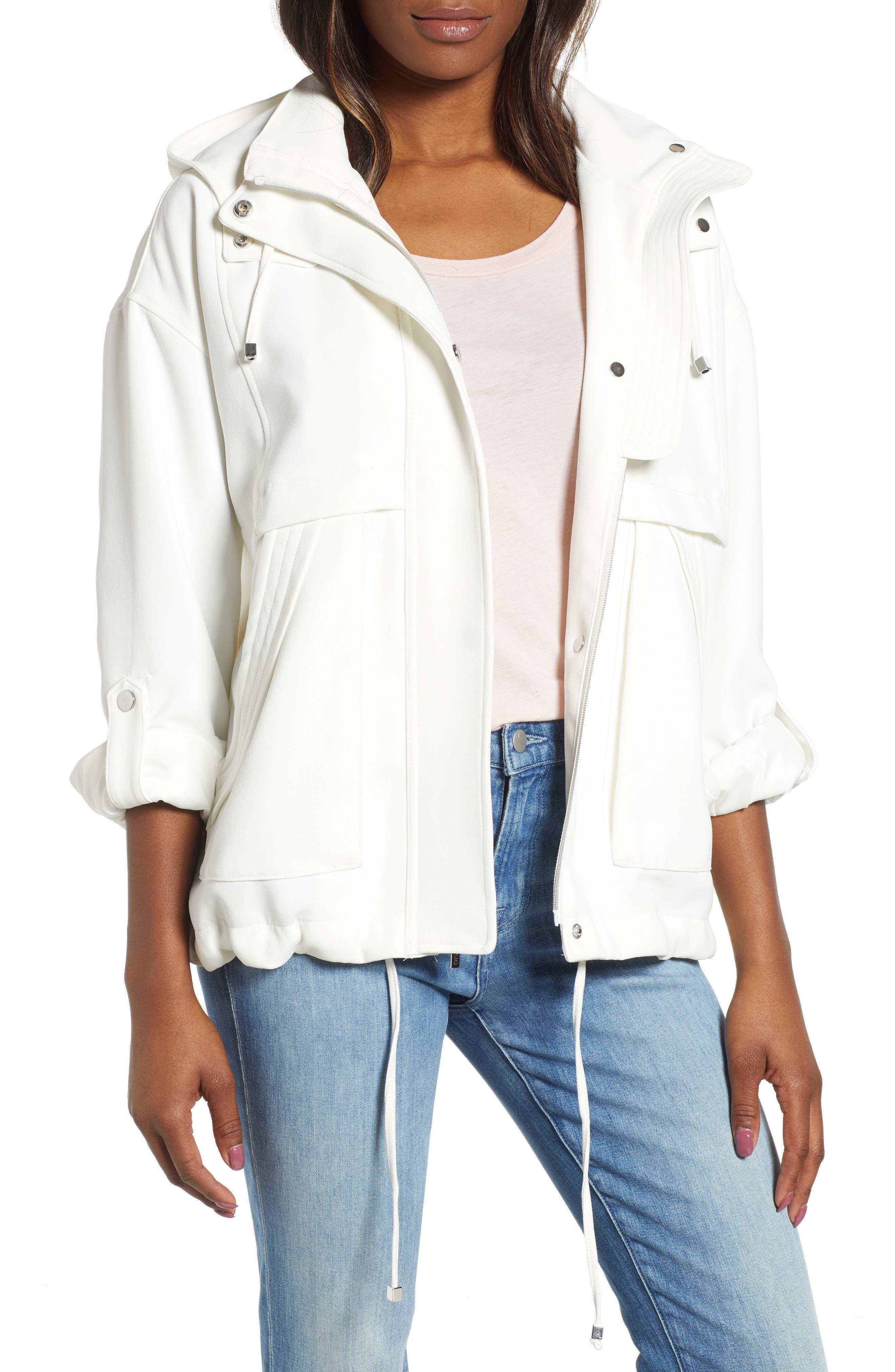 Kensie Crepe Blouson Hooded Jacket, White