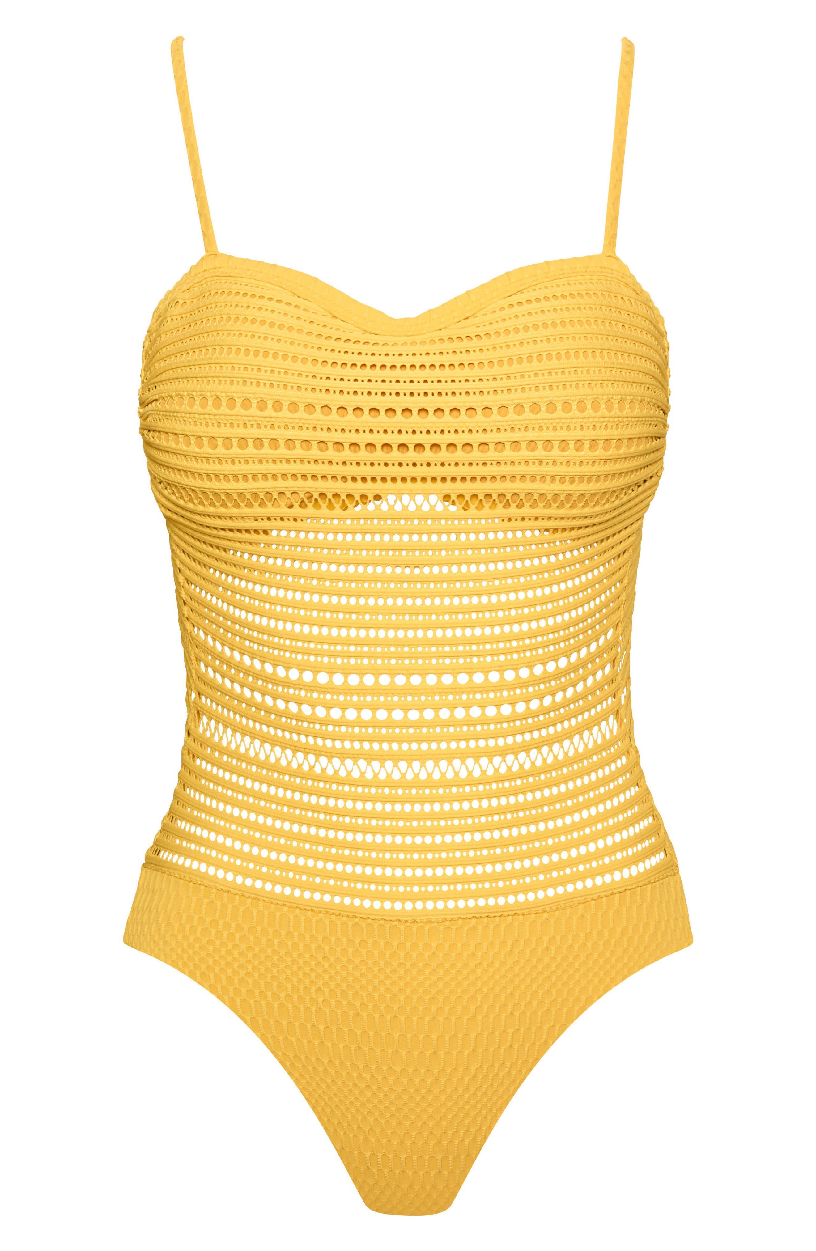 Perla Badeau One-Piece Swimsuit,                             Alternate thumbnail 6, color,                             DANDELION