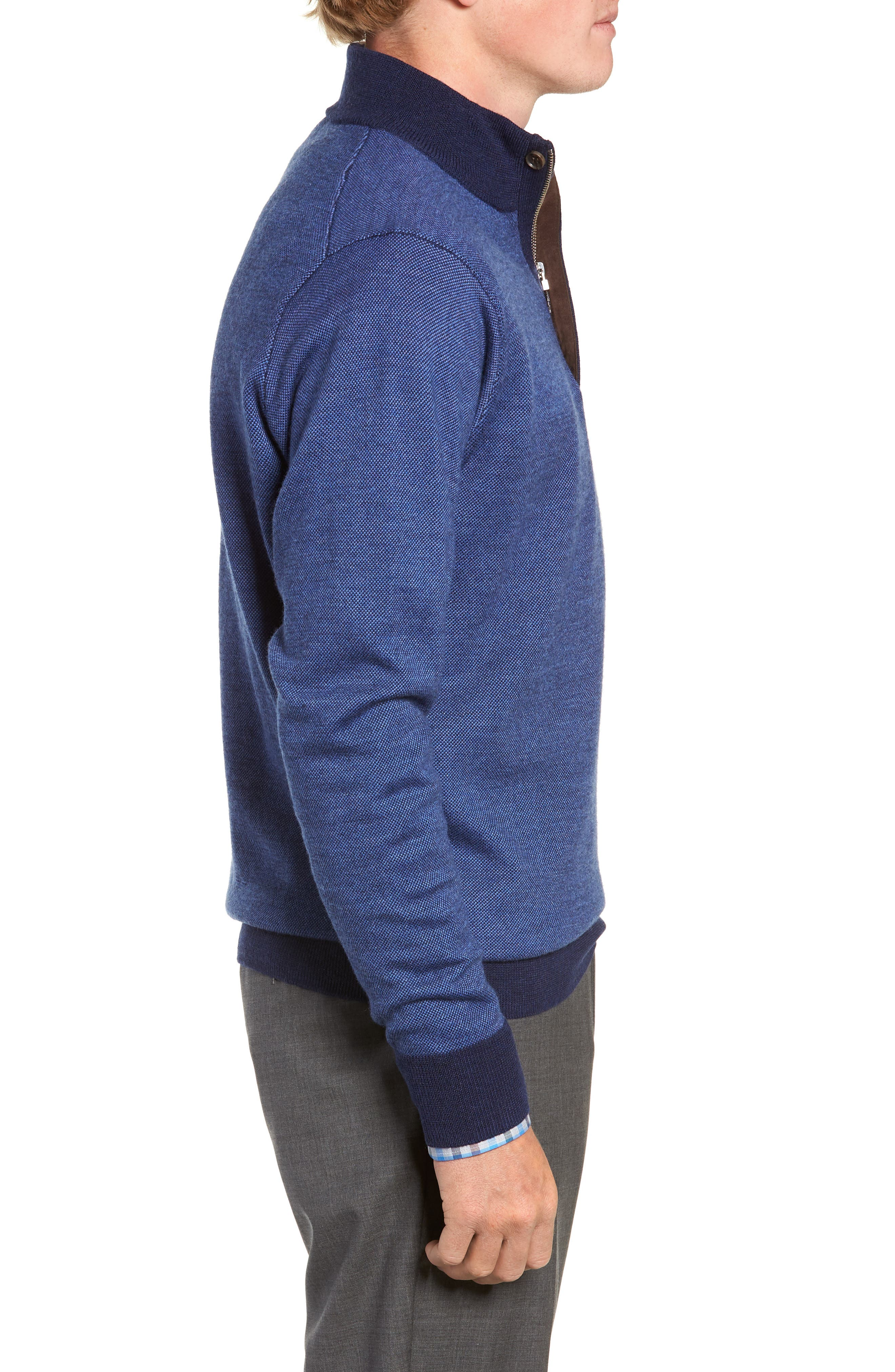 Birdseye Merino Wool Quarter Zip Sweater,                             Alternate thumbnail 3, color,                             PLAZA BLUE