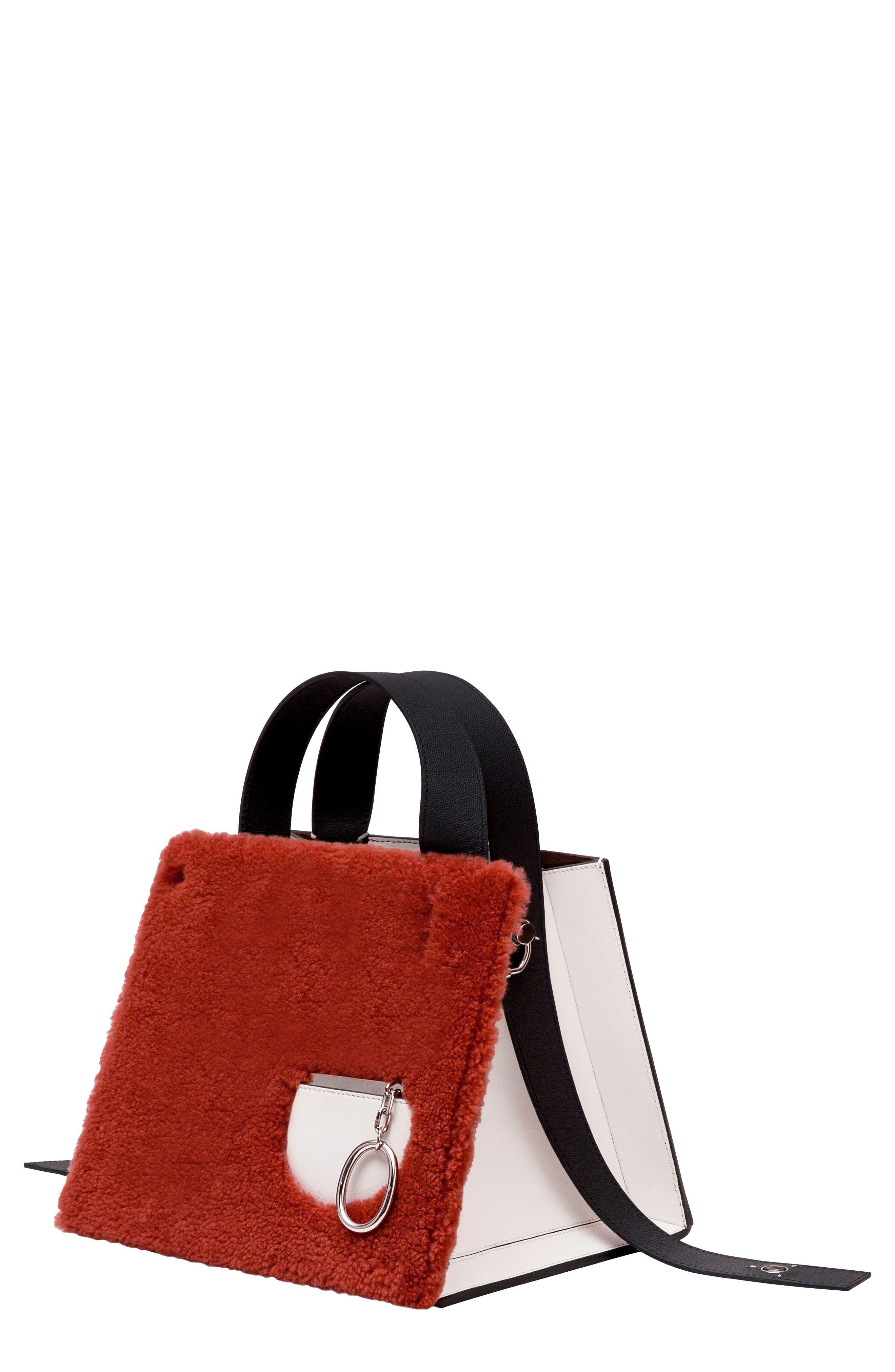 Margot Leather & Genuine Shearling Tote Bag,                         Main,                         color, SHEARLING BRICK