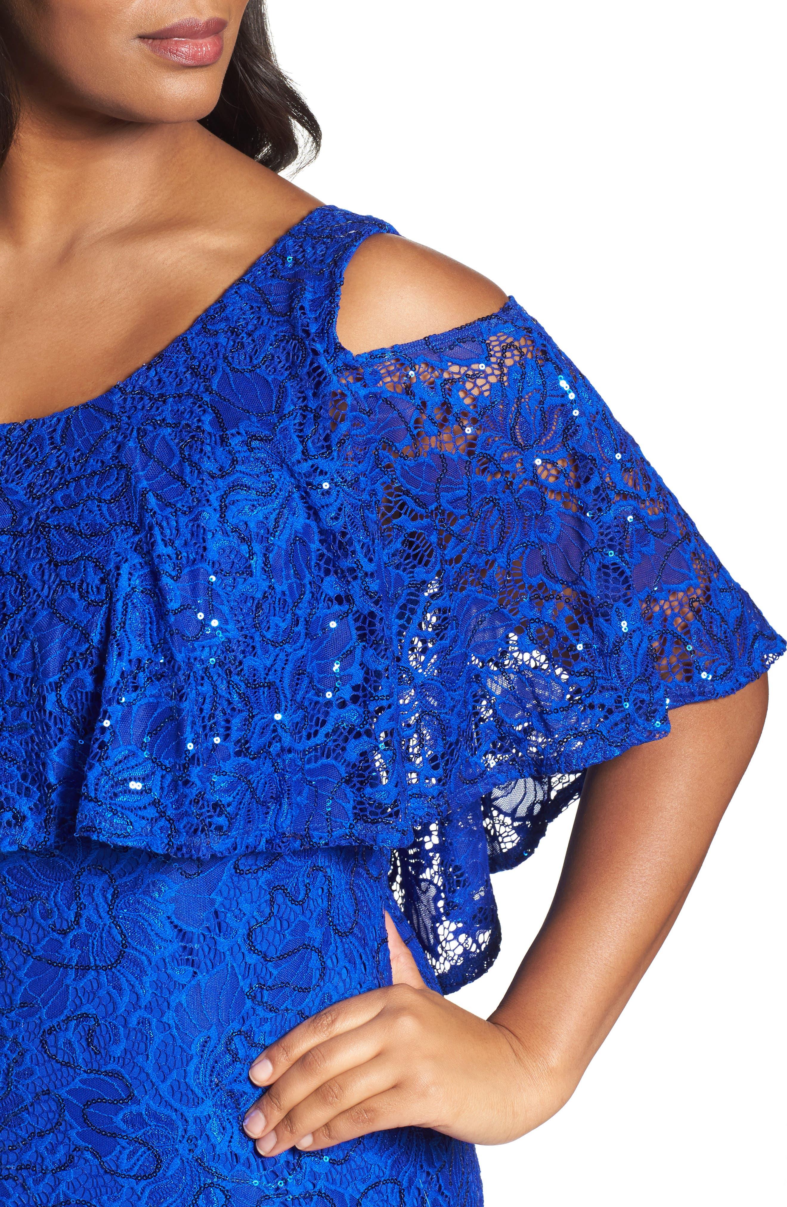 Sequin Lace Cold Shoulder Long Dress,                             Alternate thumbnail 12, color,