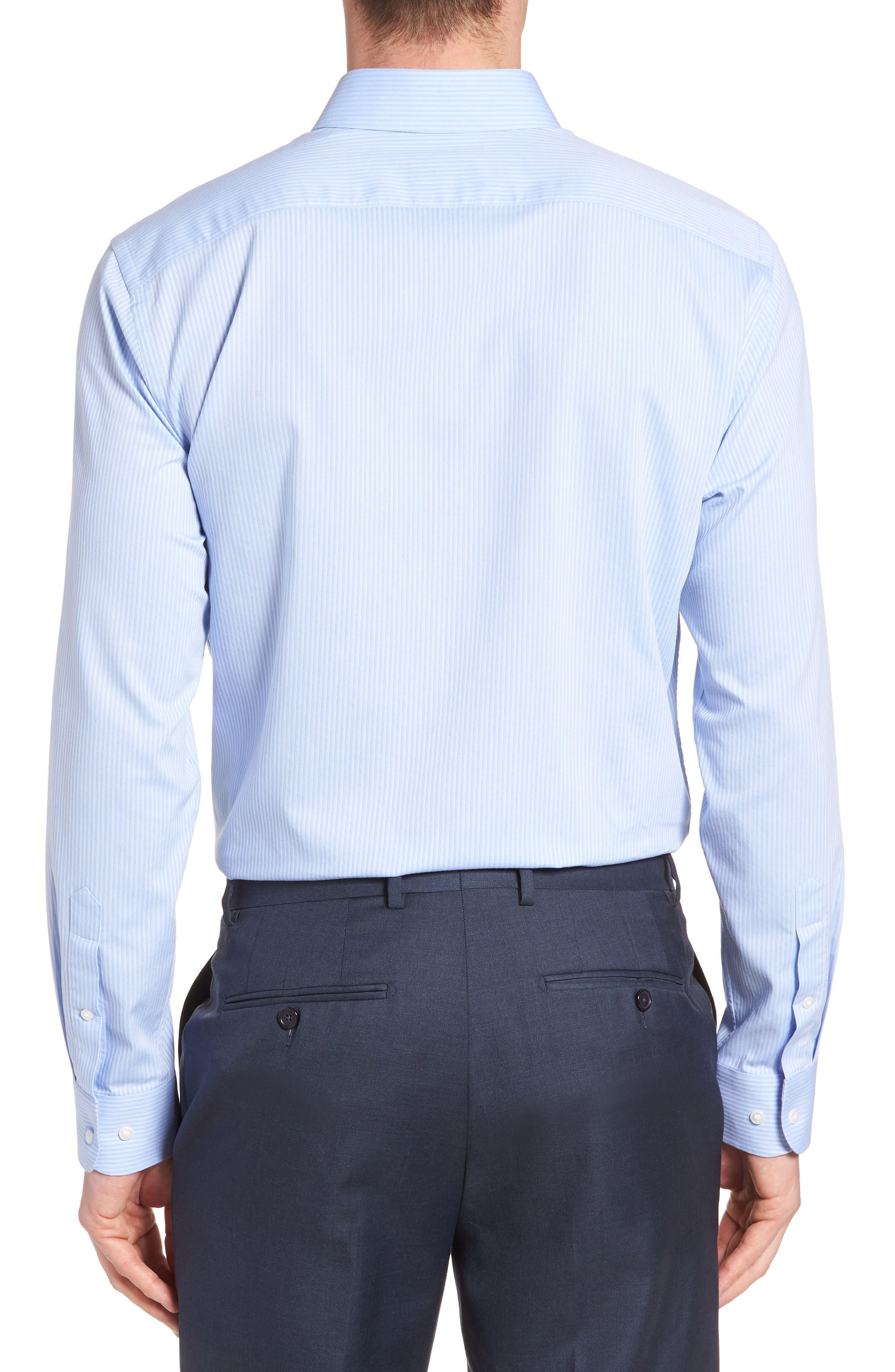 Tech-Smart Trim Fit Stretch Stripe Dress Shirt,                             Alternate thumbnail 3, color,                             450