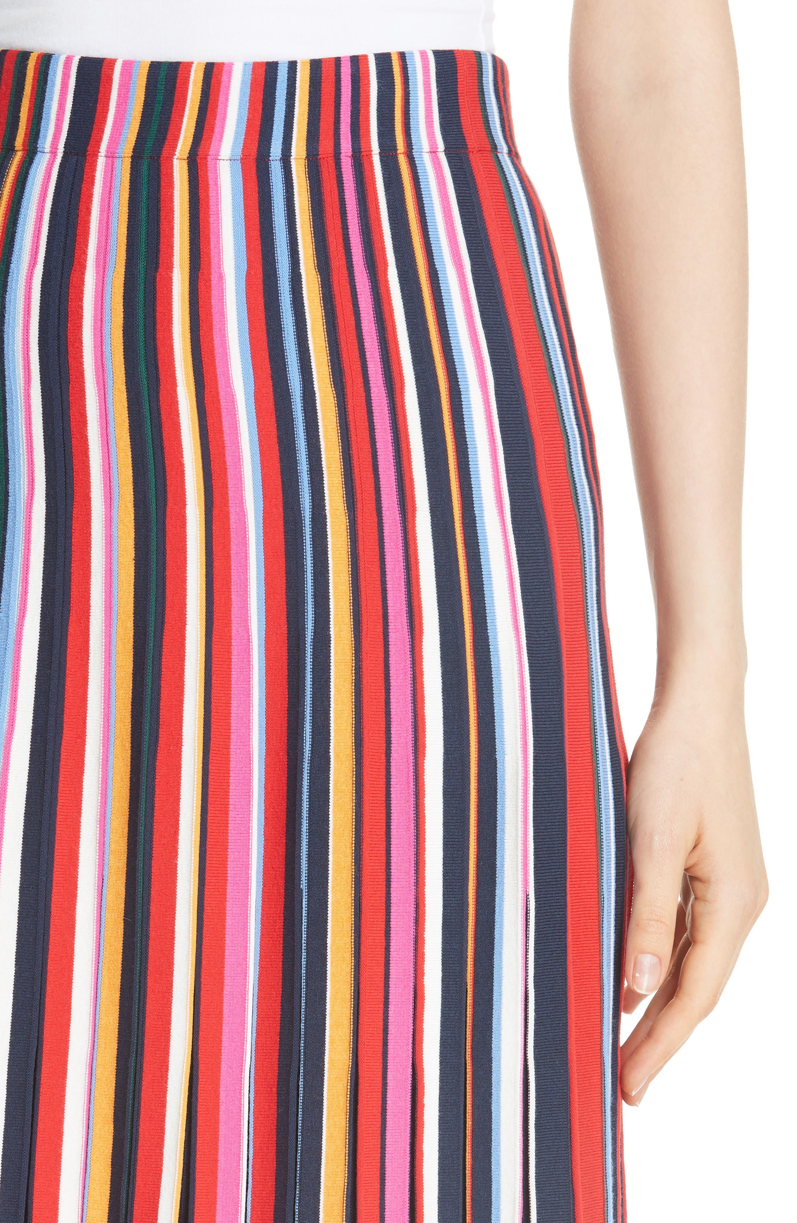 Ellis Stripe Pleated Skirt,                             Alternate thumbnail 4, color,                             405