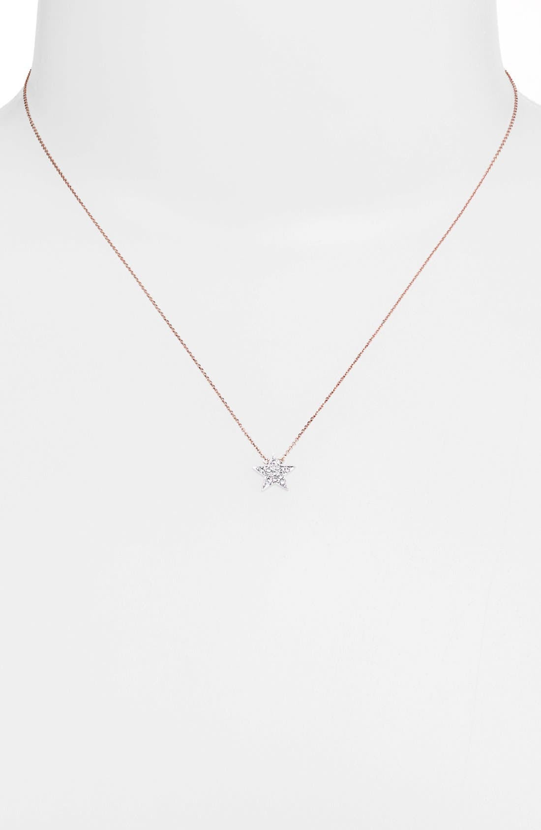 'Julianne Himiko' Diamond Star Pendant Necklace,                             Alternate thumbnail 4, color,                             WHITE GOLD