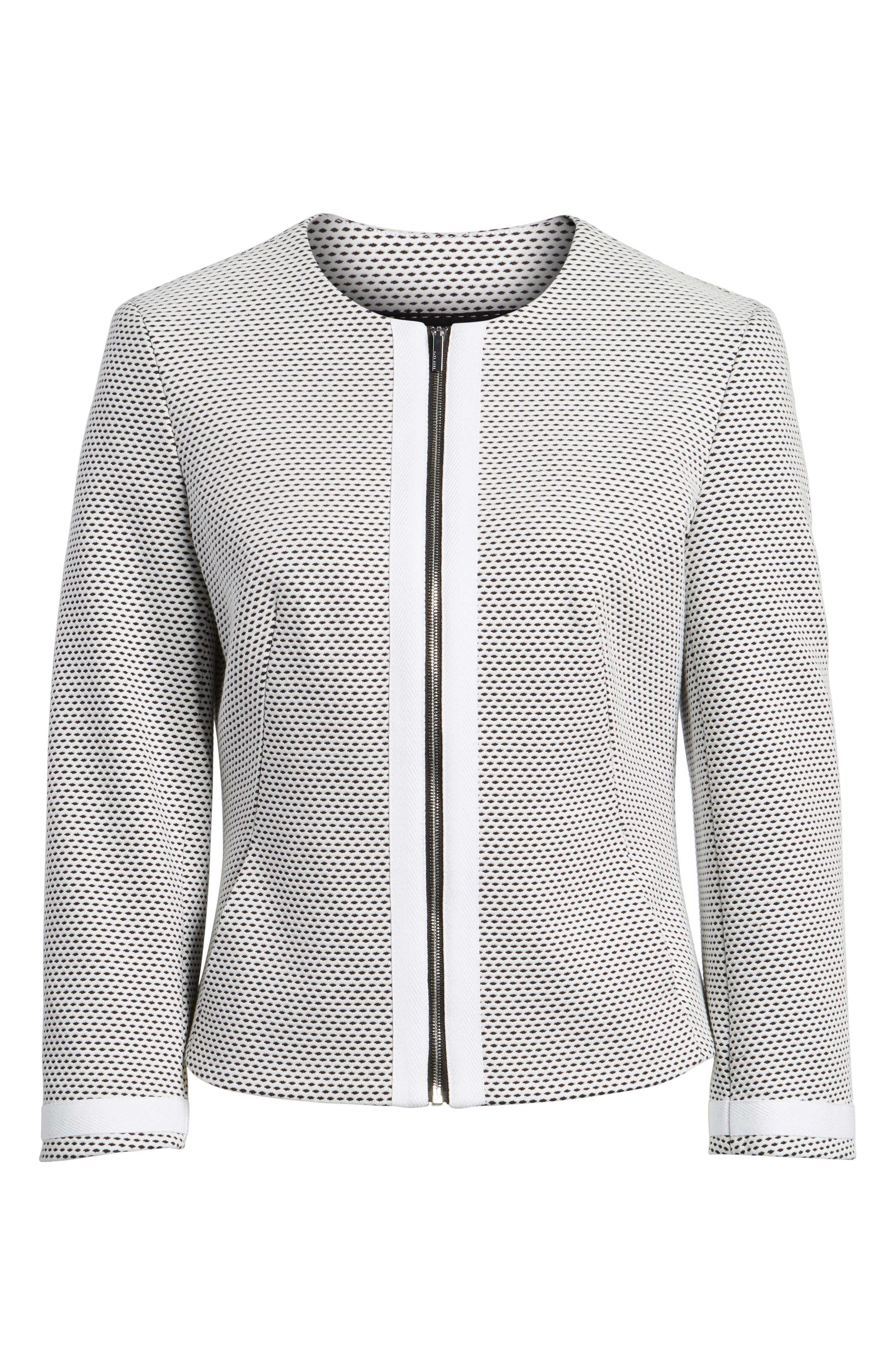 Kaily Cotton Jacquard Crop Jacket,                             Alternate thumbnail 5, color,                             170