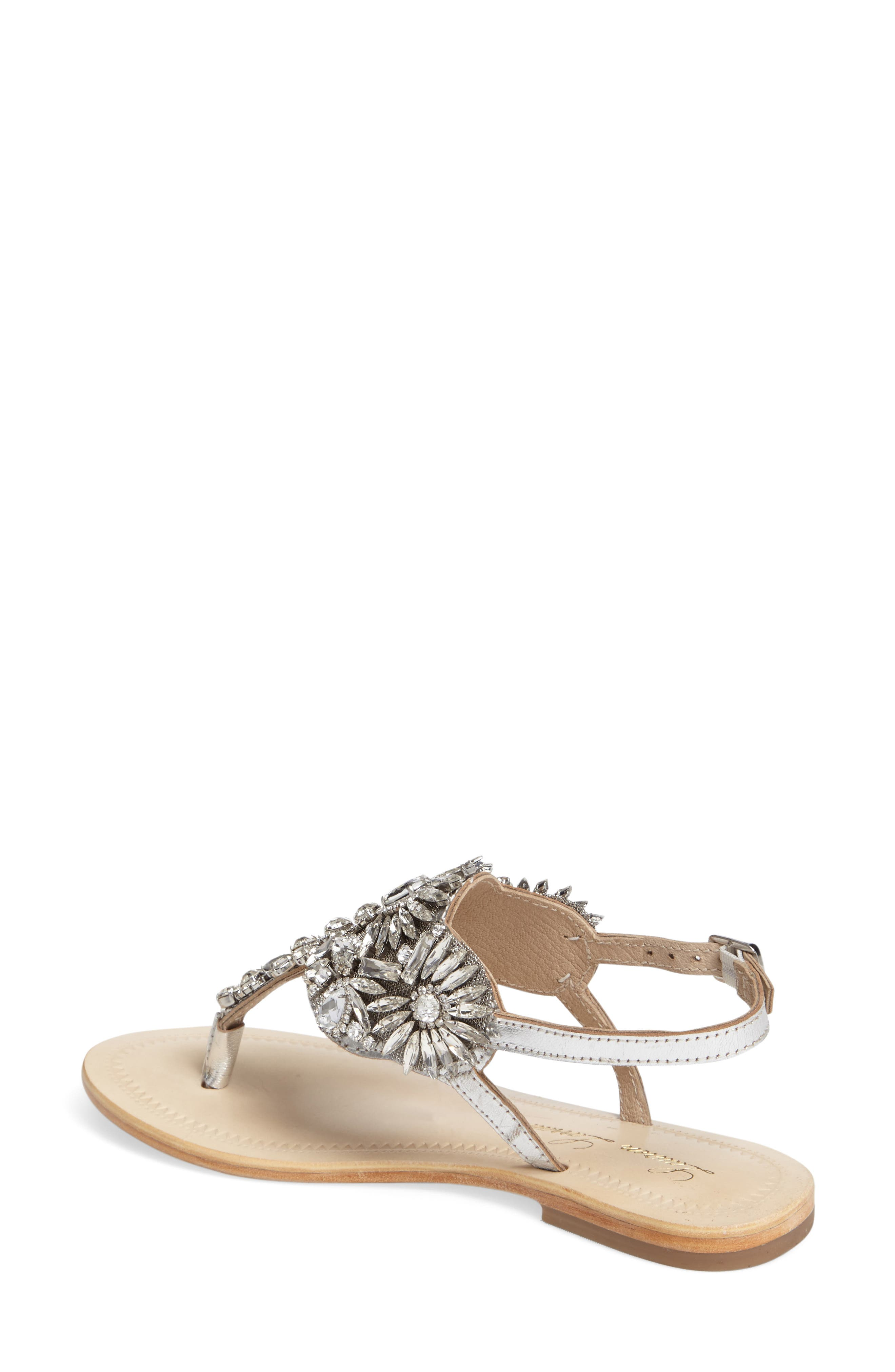Vera Embellished Sandal,                             Alternate thumbnail 2, color,                             SILVER LEATHER