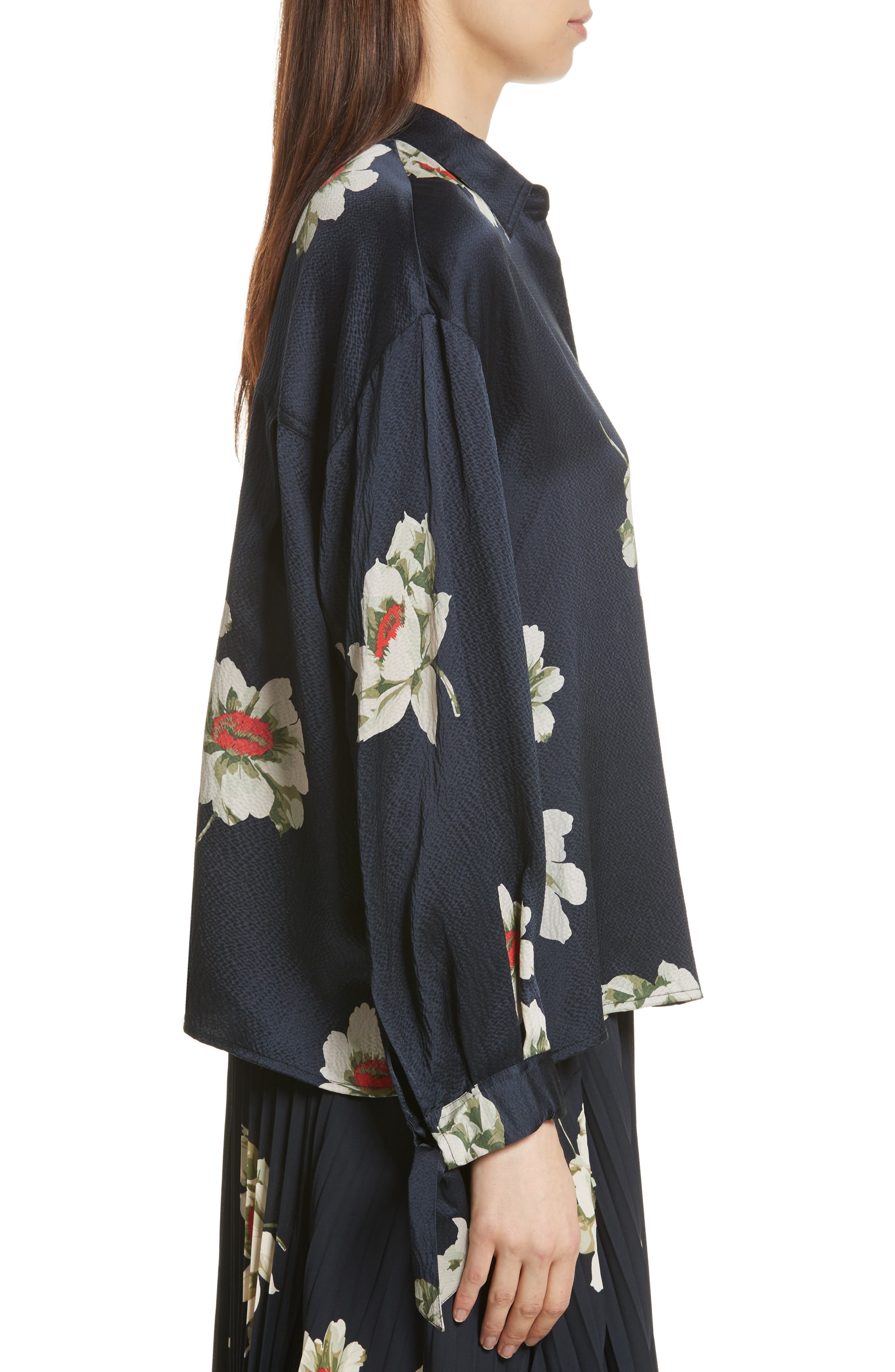 Gardenia Floral Silk Blouse,                             Alternate thumbnail 3, color,                             403
