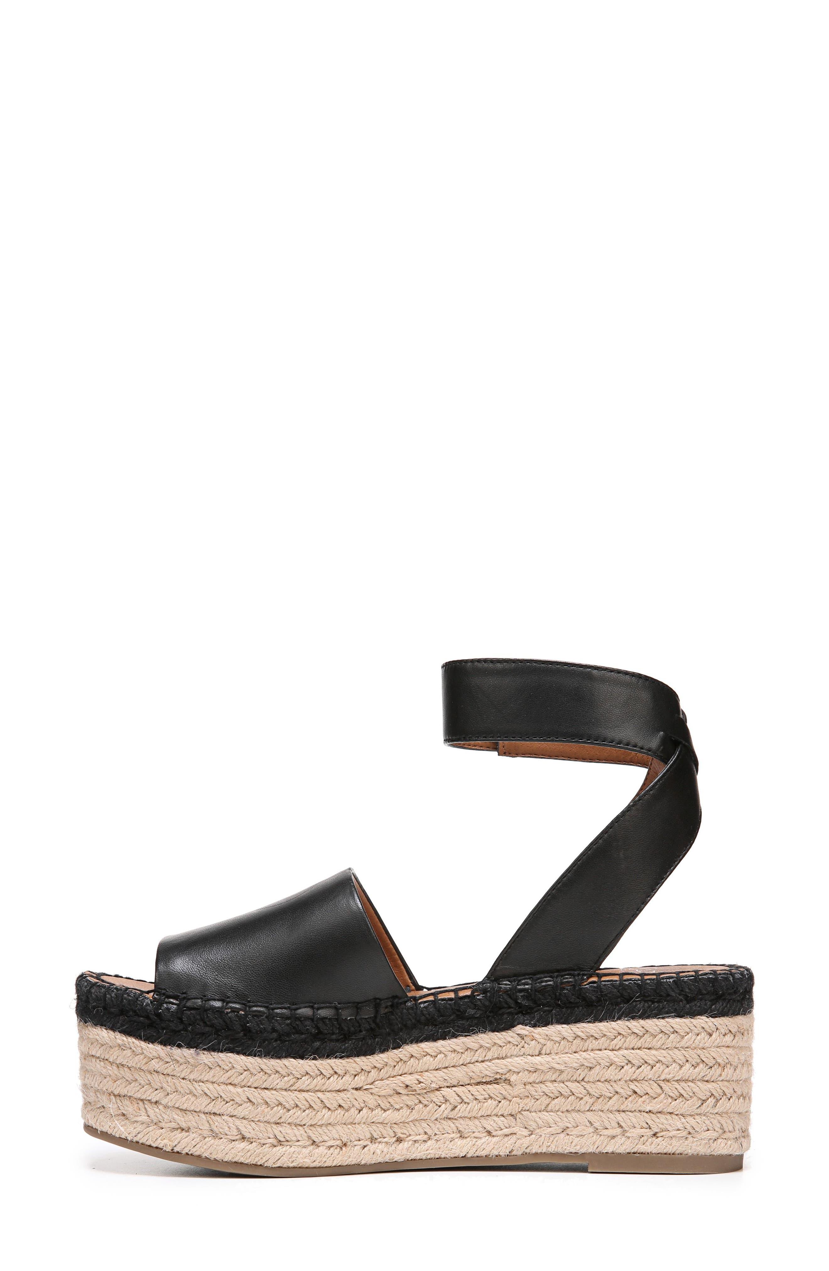 Maisi Platform Espadrille Sandal,                             Alternate thumbnail 3, color,                             BLACK LEATHER
