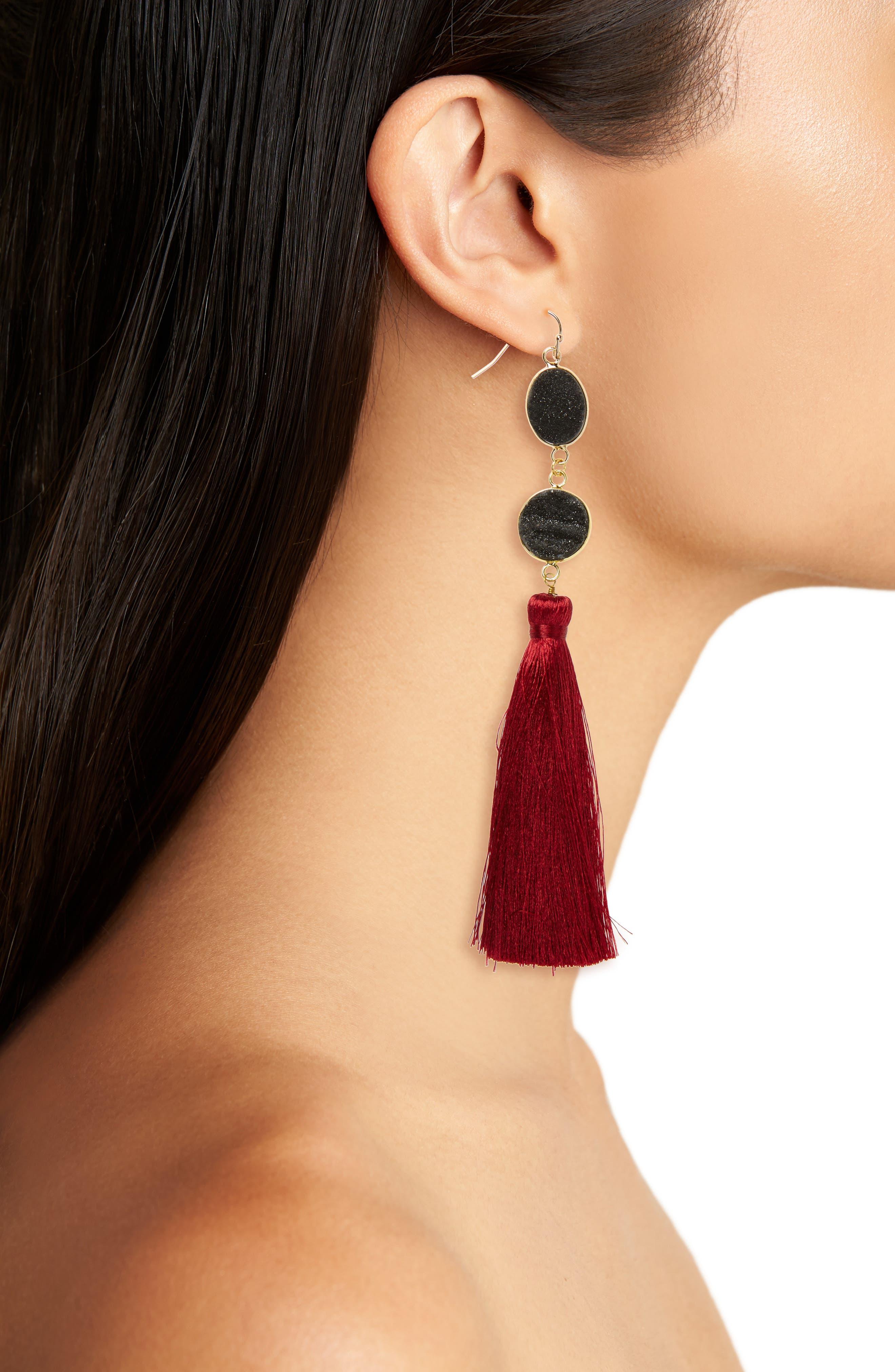 Drusy Quartz Tassel Earrings,                             Alternate thumbnail 2, color,                             001
